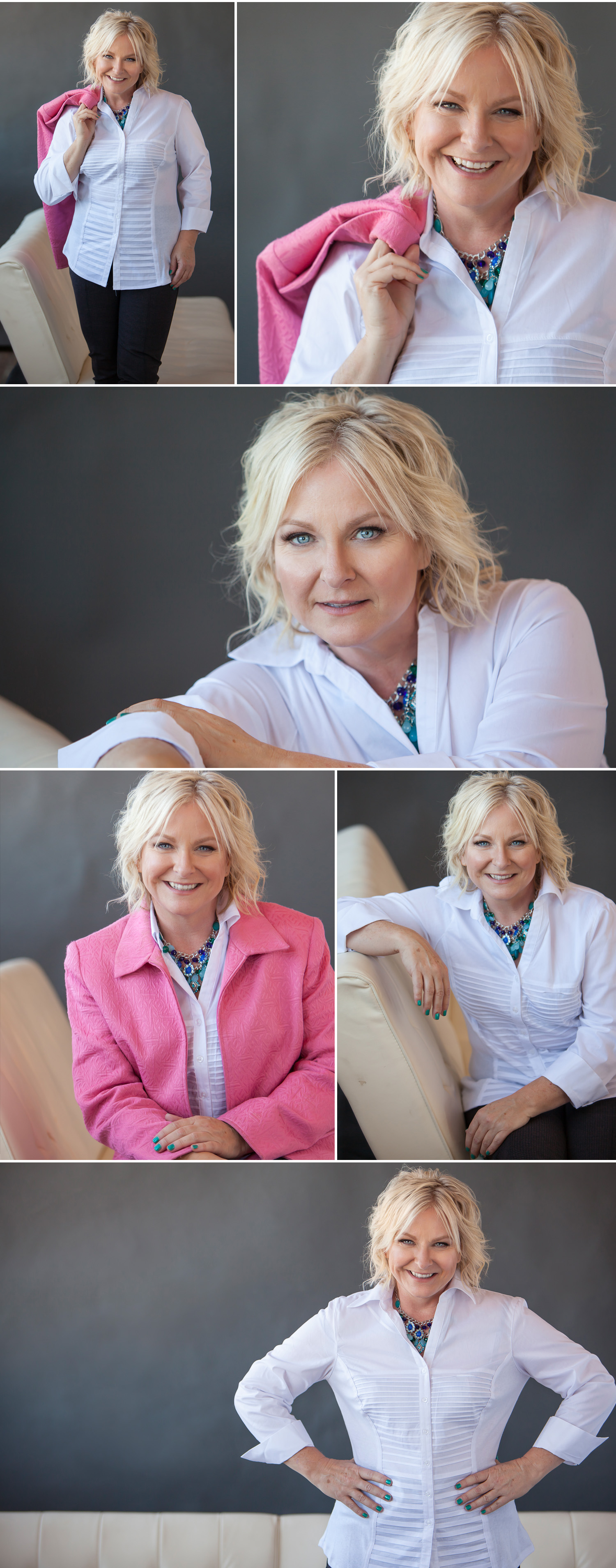 Beautiful woman's personal branding portrait session with splashes of pink, with Denver photographer Jennifer Koskinen | Merritt Design Photo