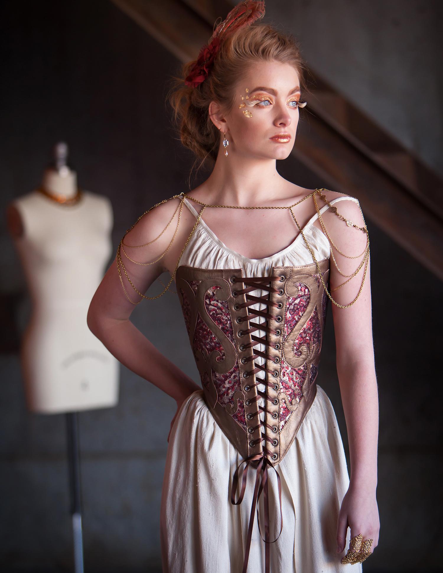 Styled High Fashion Photoshoot for Redthreaded (corset designer) by Denver photographer Jennifer Koskinen, Merritt Portrait Studio
