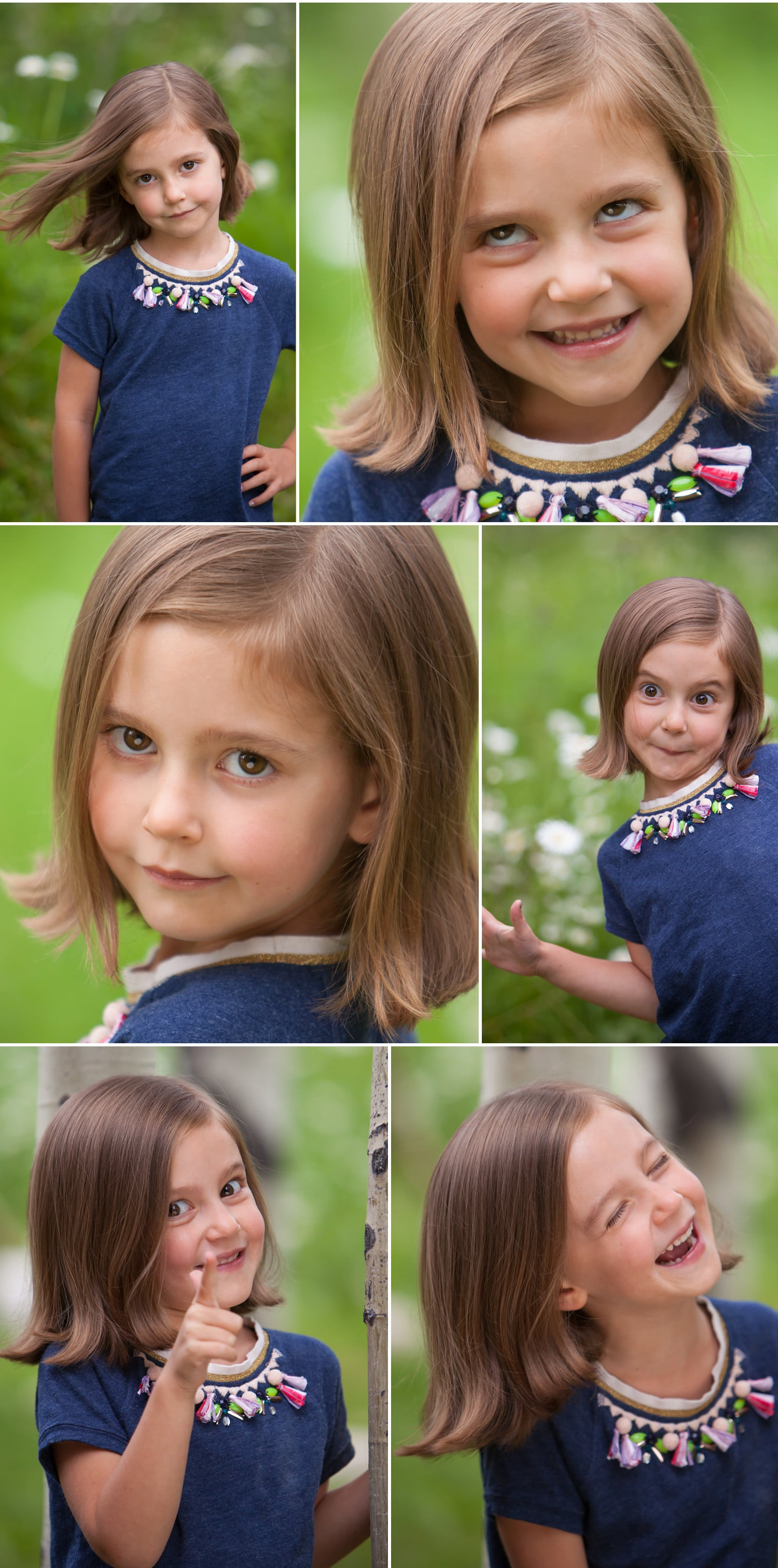Adorable little girl with big, comedic personality in actor headshot outtakes, for Denver photographer Jennifer Koskinen | Merritt Portrait Studio