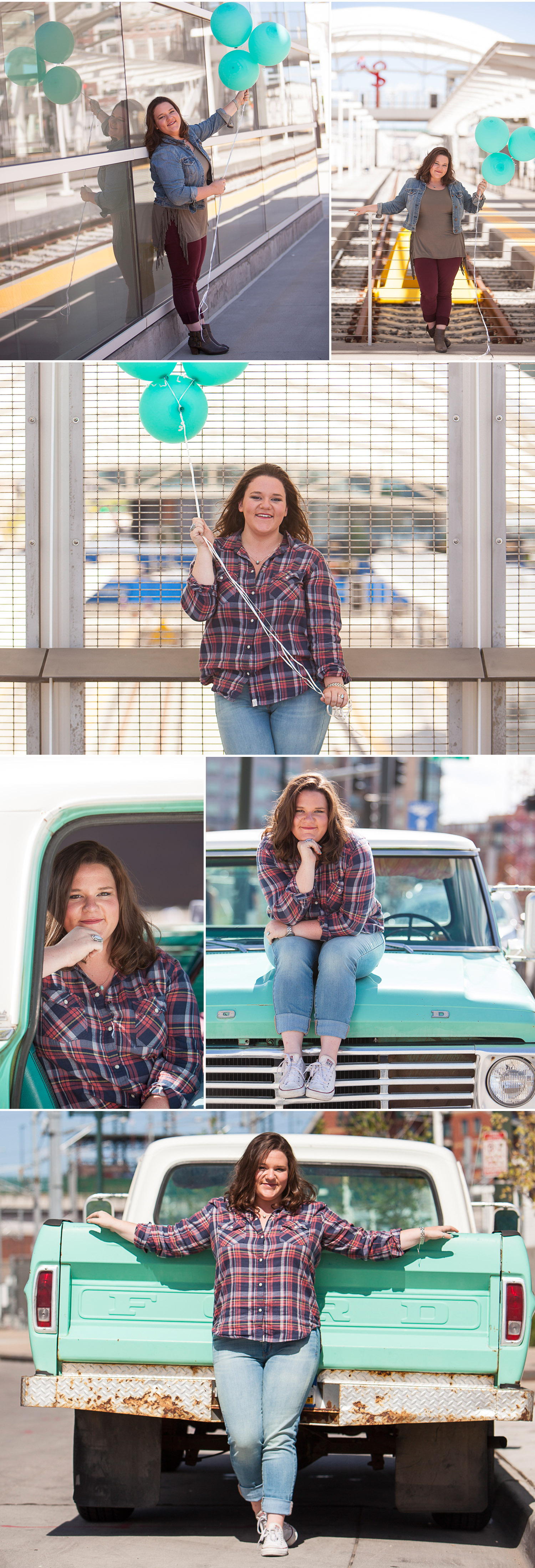 Senior pictures with teal / blue-green color theme in downtown Denver with photographer Jennifer Koskinen | Merritt Portrait Studio