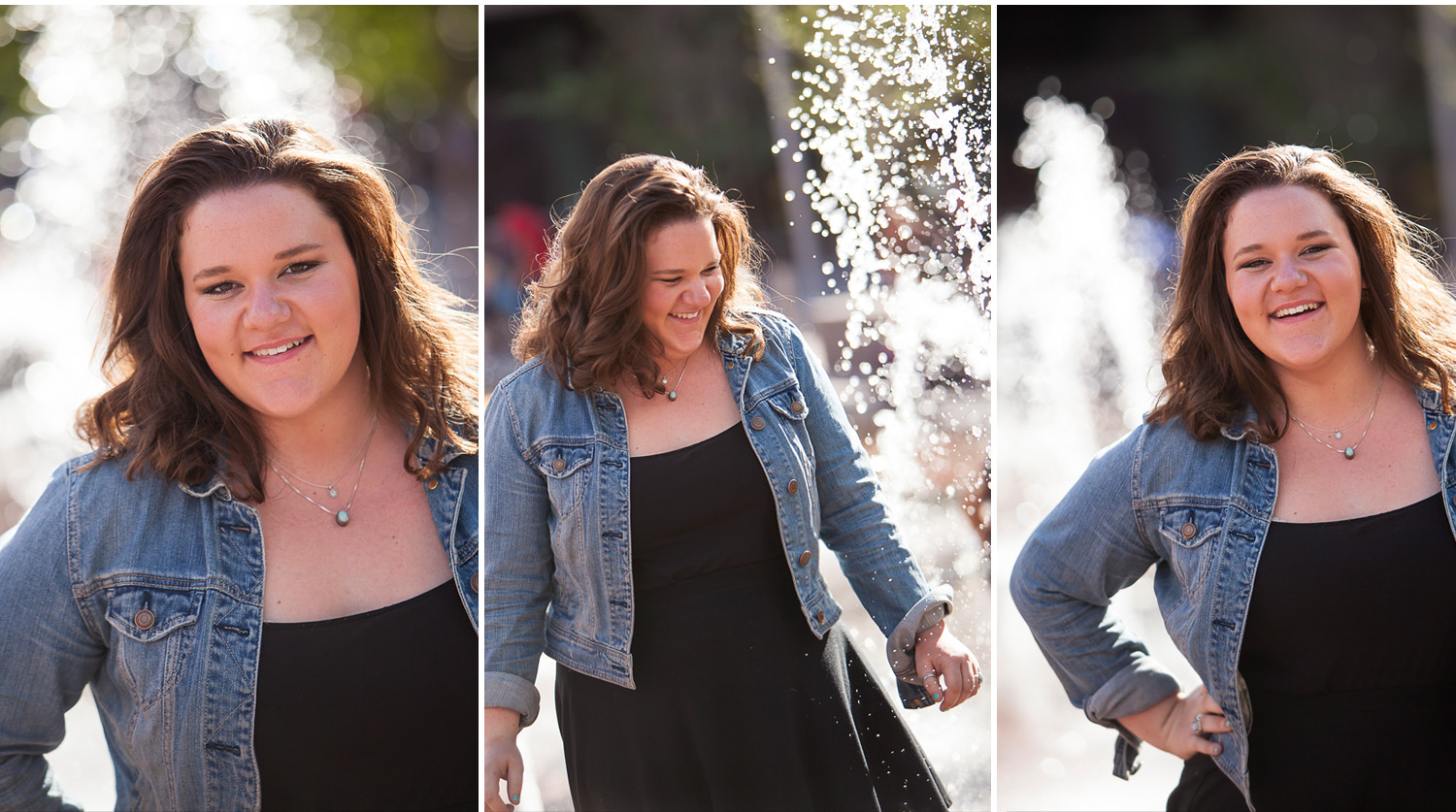senior pictures near fountains at Union Station in Denver