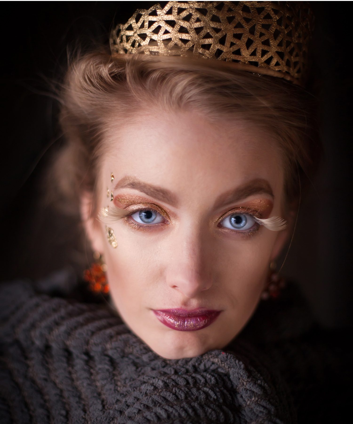 Close-up Glamour Portrait with handmade gold tiara, by Denver photographer Jennifer Koskinen | Merritt Portrait Studio