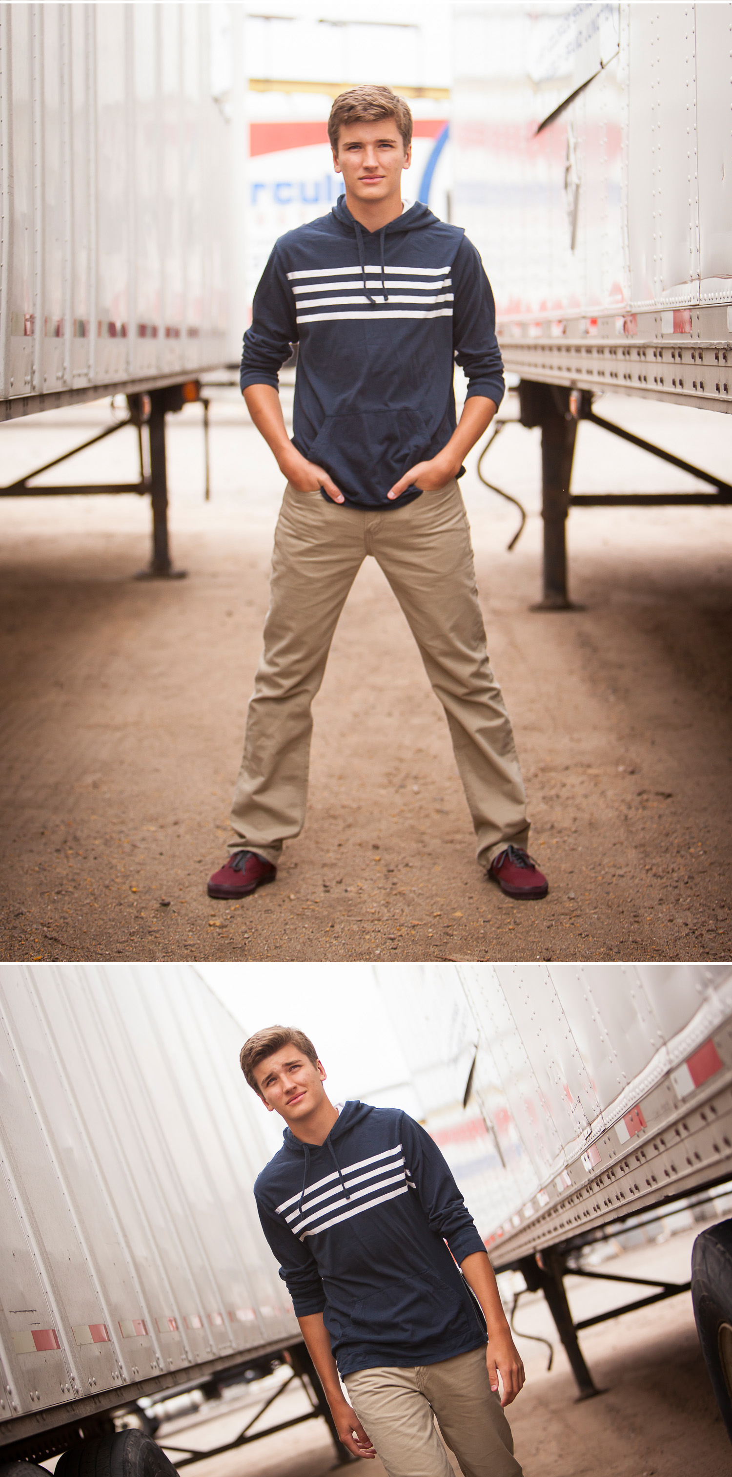 High school senior guy pictures between trucks in Denver with photographer Jennifer Koskinen | Merritt Portrait Studio