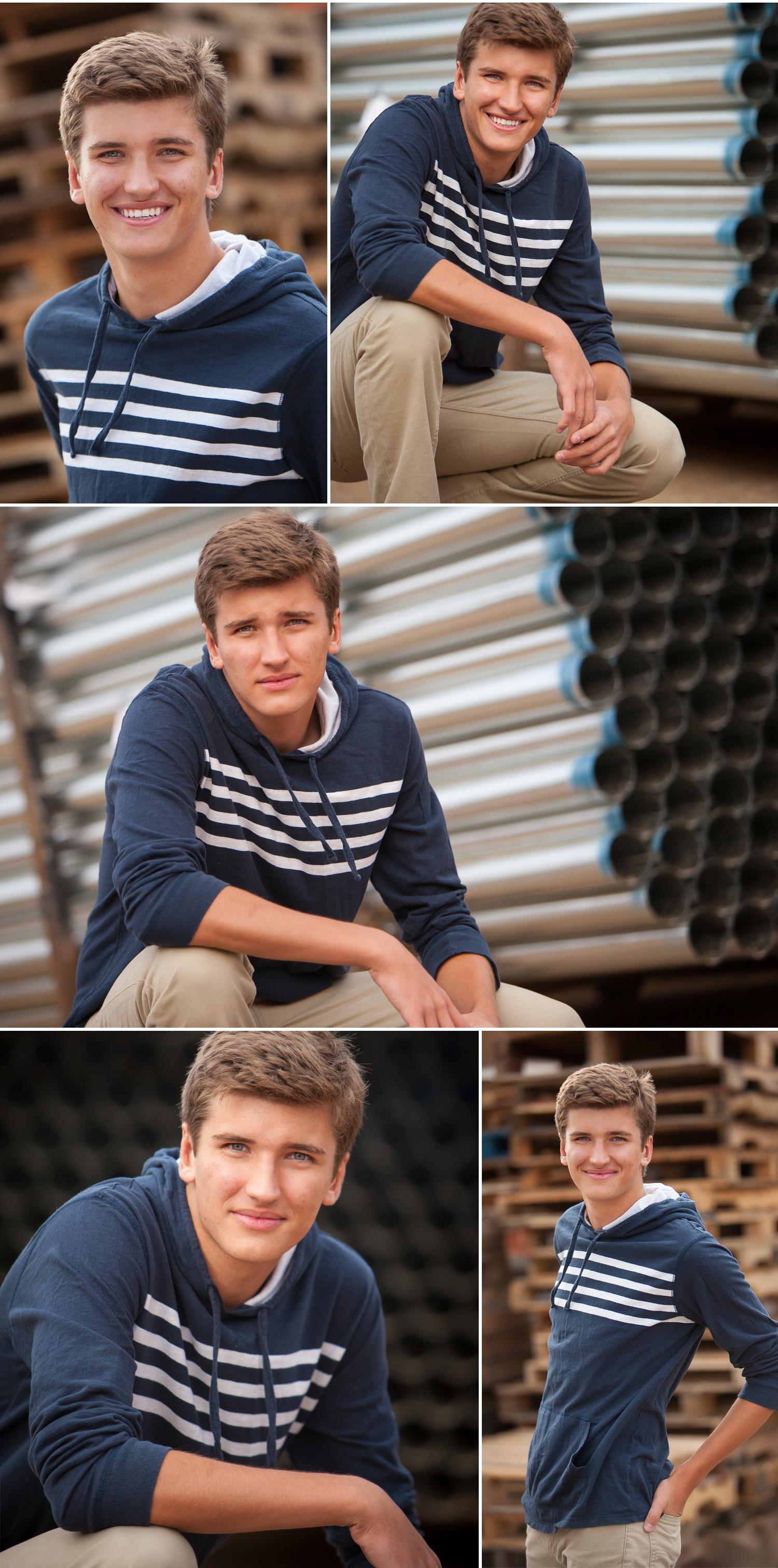 High school senior guy pictures in industrial setting in Denver with photographer Jennifer Koskinen   Merritt Portrait Studio