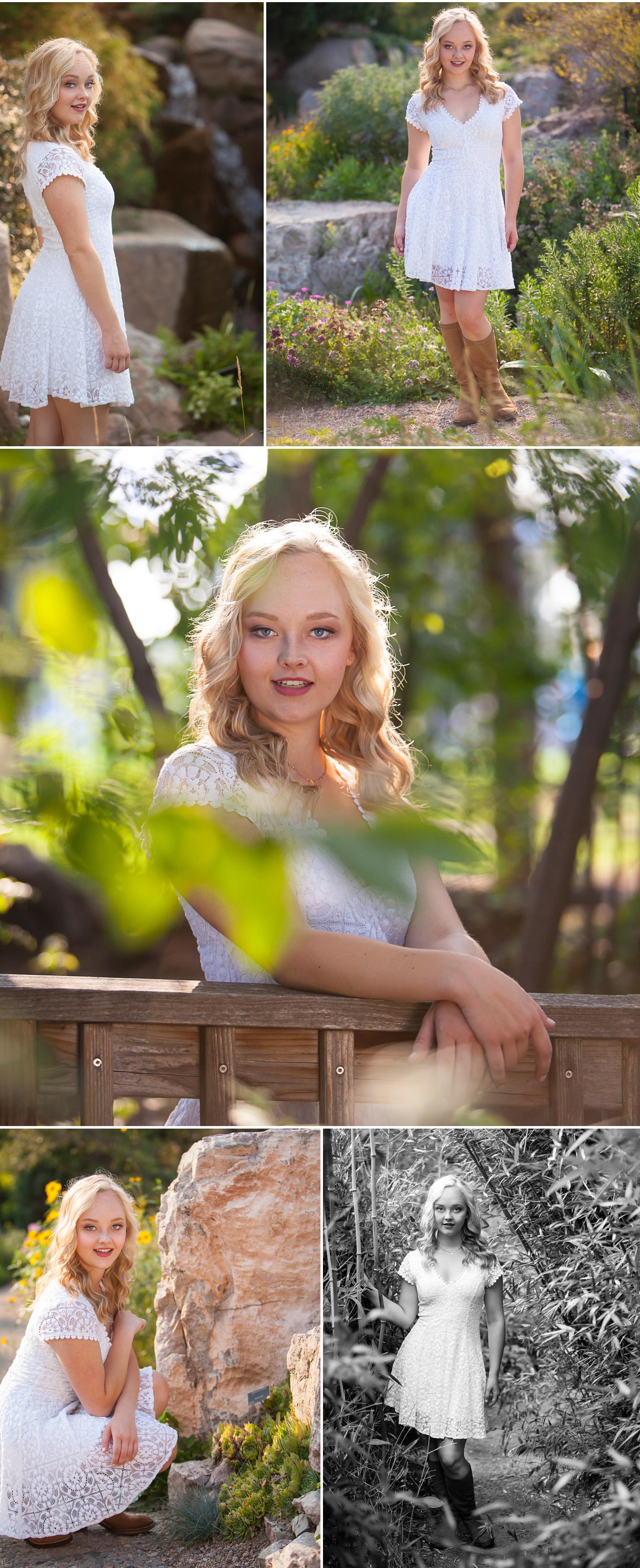 High school senior pictures outside in summer at the Denver Botanic Gardens with photographer Jennifer Koskinen, Merritt Portrait Studio