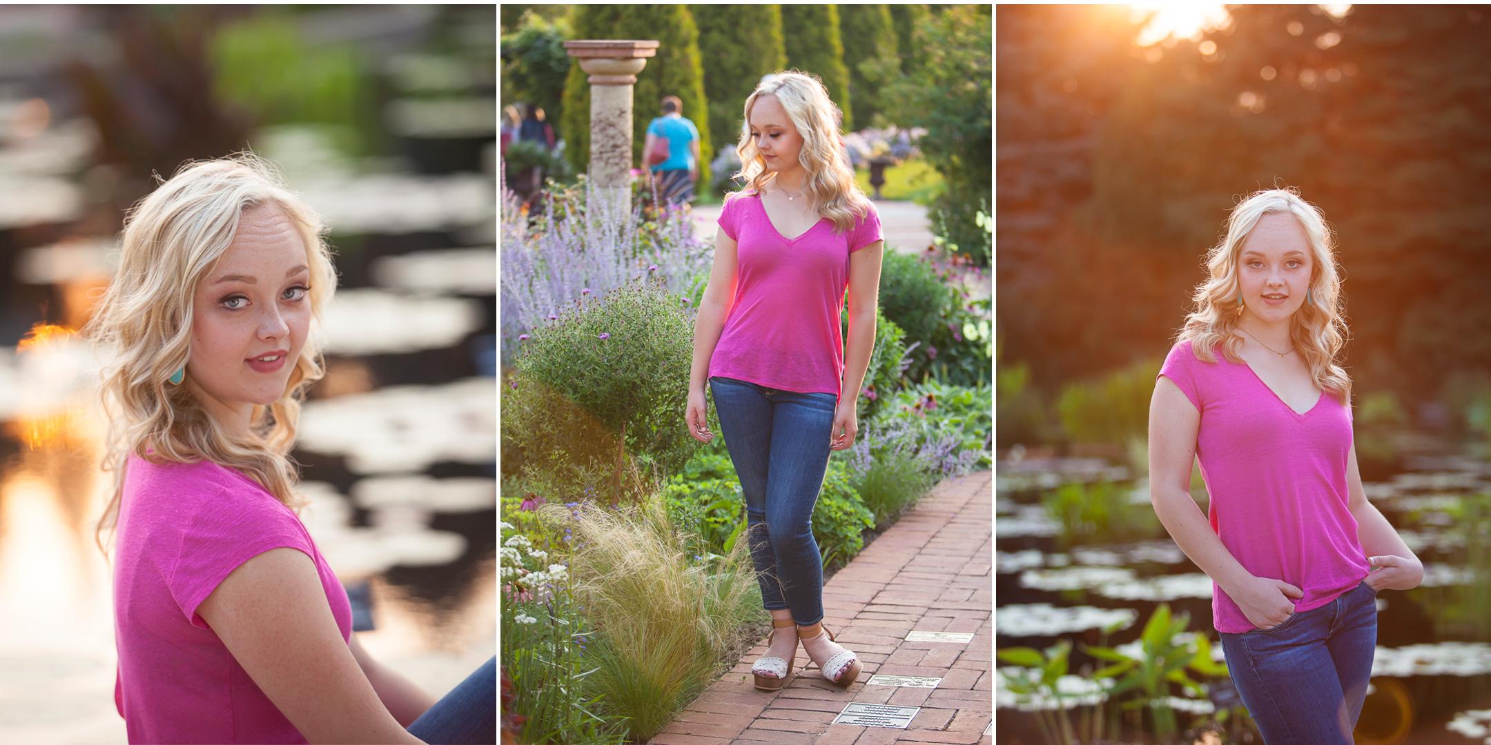 High school senior pictures outside by flowers and water at the Denver Botanic Gardens with photographer Jennifer Koskinen, Merritt Portrait Studio