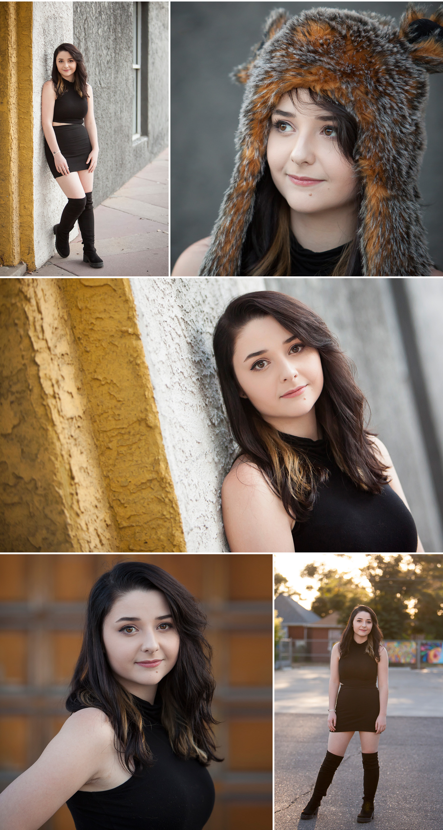 Earth tones & golds in Senior Pictures in the Santa Fe Arts District of Denver with photographer Jennifer Koskinen | Merritt Portrait Studio