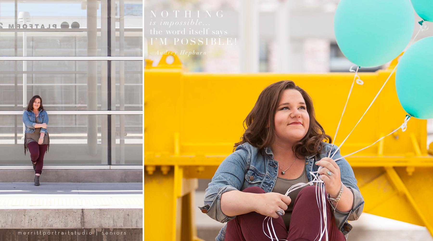 Fun senior pictures at Union Station in Denver with photographer Jennifer Koskinen | Merritt Portrait Studio