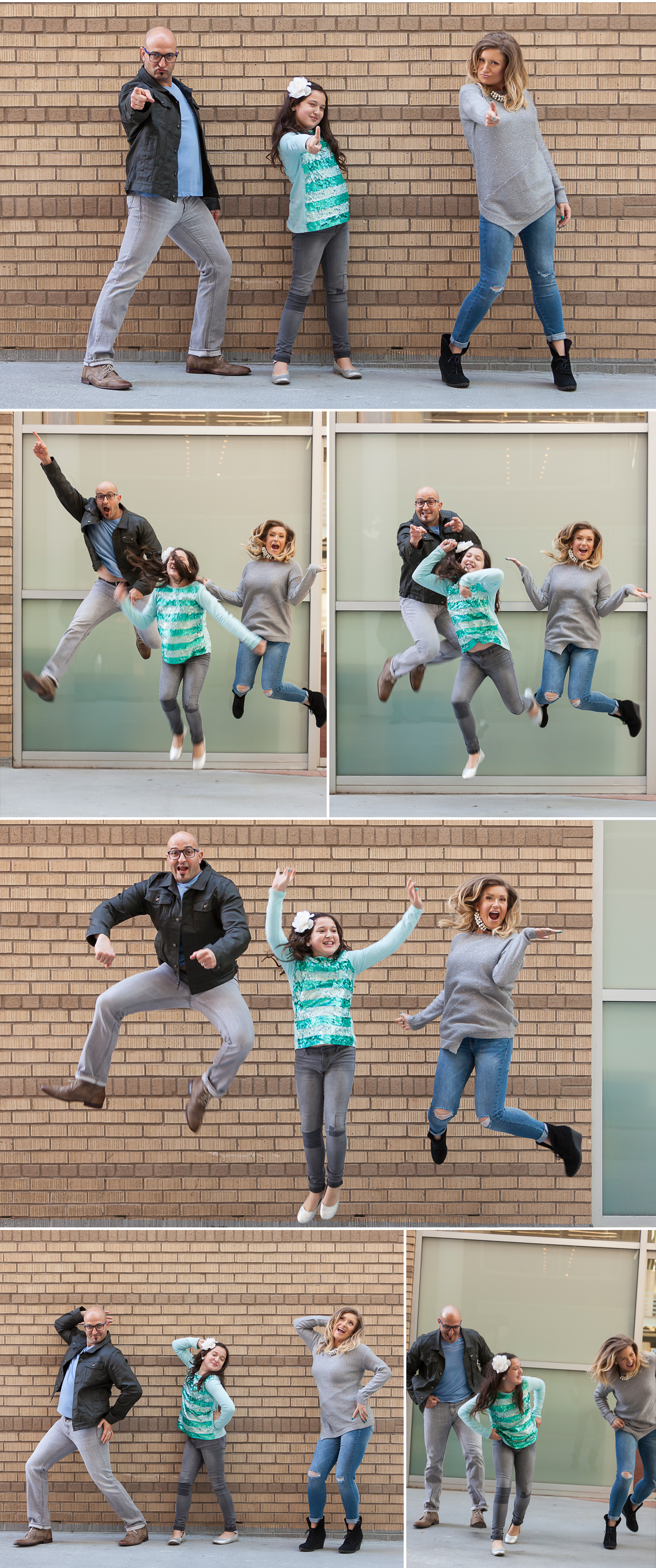 Silly FUN jumping Family Pictures at the Denver Center for Performing Arts with photographer Jennifer Koskinen