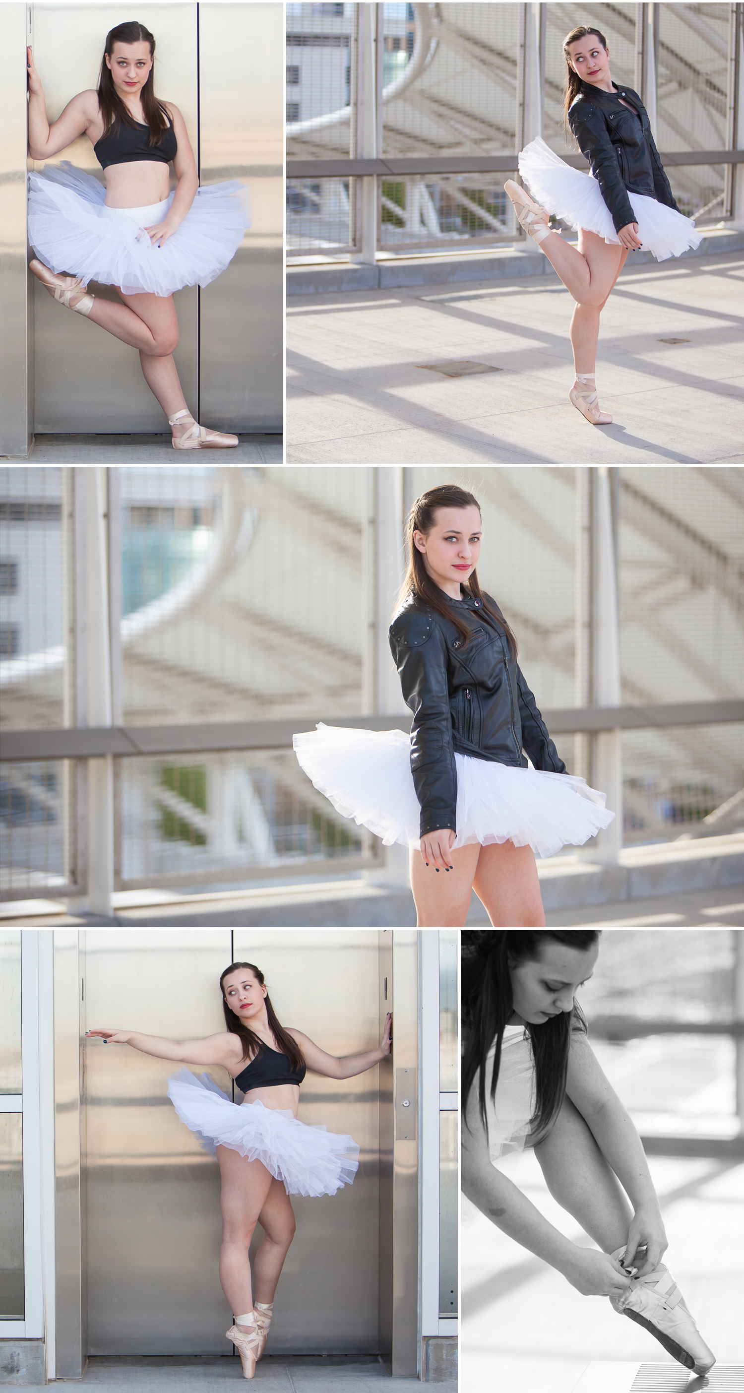 Urban dancer portraits with leather jacket and tutu in downtown Denver with photographer Jennifer Koskinen, Merritt Portrait Studio