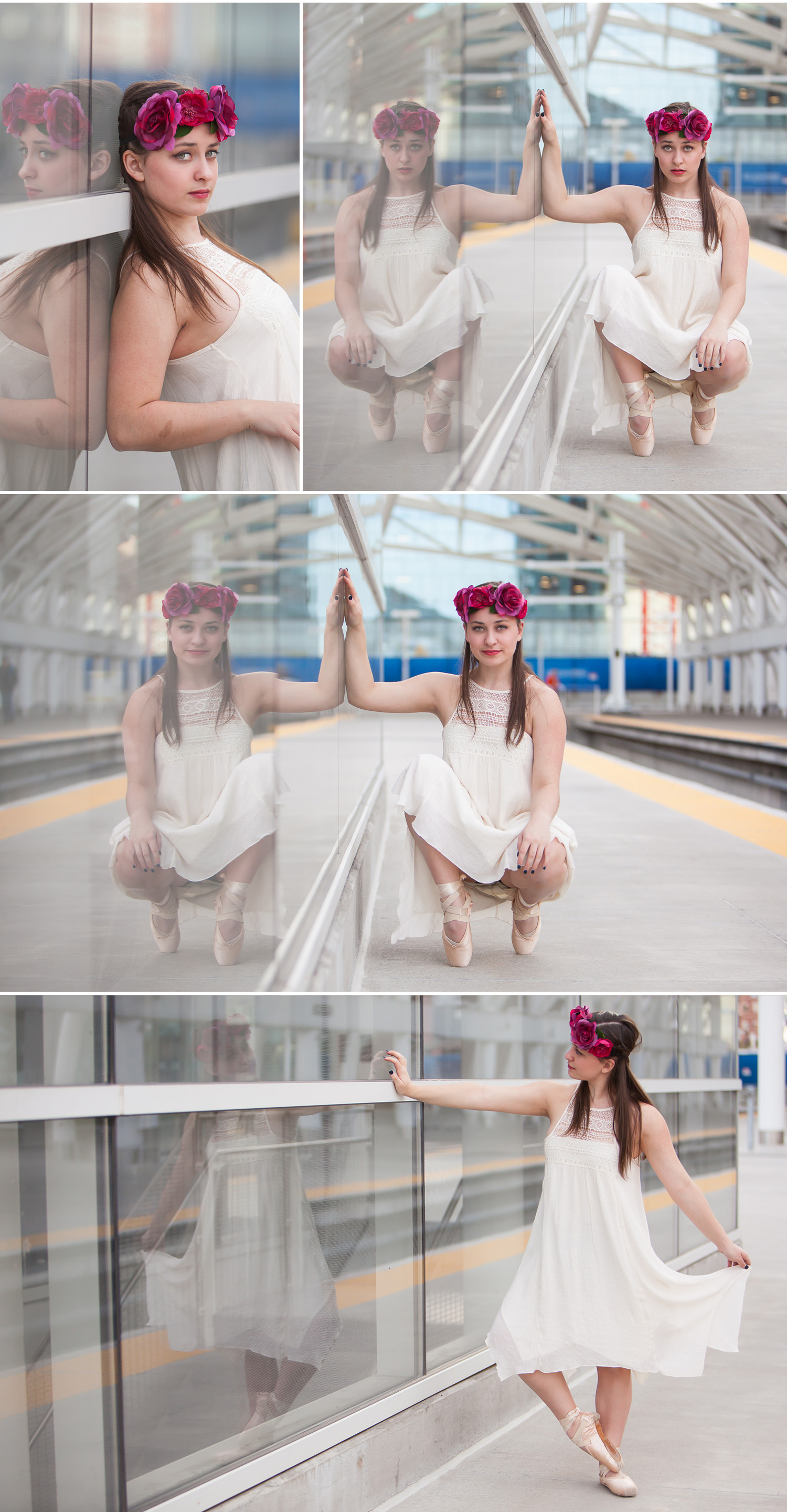 Hip, urban dancerly portraits in downtown Denver, using improvised, found ballet bar with photographer Jennifer Koskinen, Merritt Portrait Studio