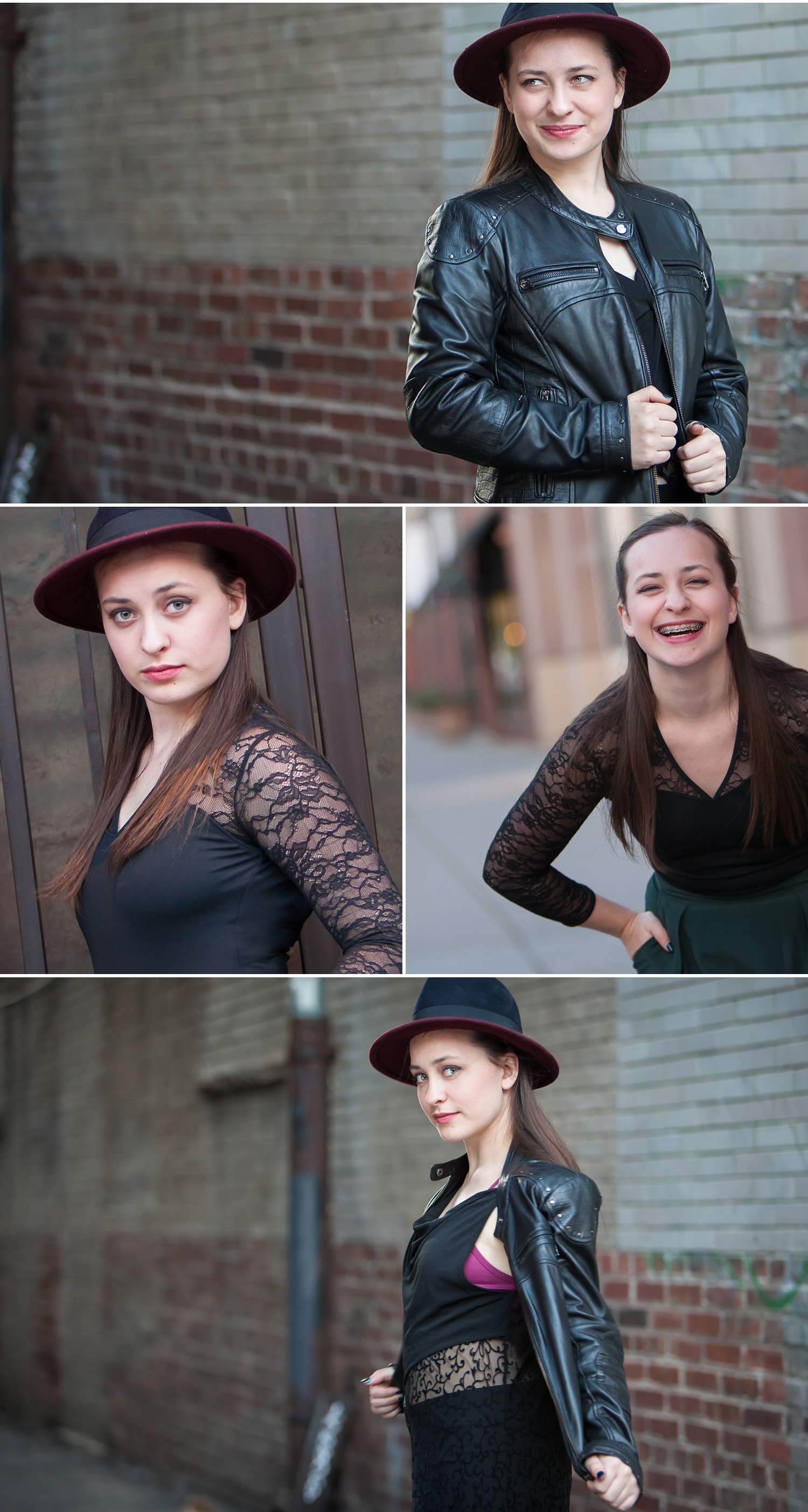 Leather jacket teen girl portraits in urban setting with hat, with Denver photographer Jennifer Koskinen, Merritt Portrait Studio.