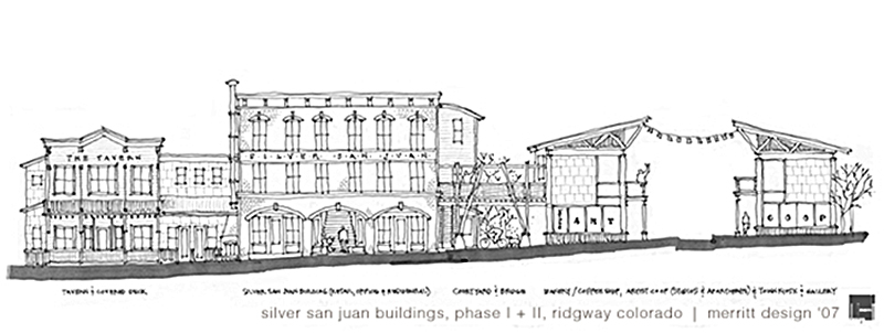 Architectural sketch of one of my last projects as an architectural designer, a mixed use urban/residential project in Ridgway Colorado.