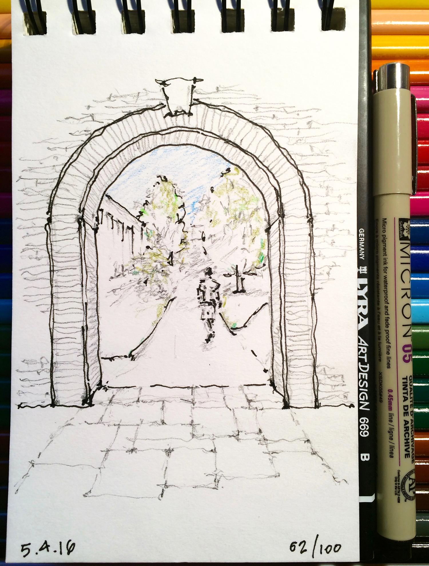 pencil and ink sketch, University of Colorado, Boulder, by Jennifer Koskinen