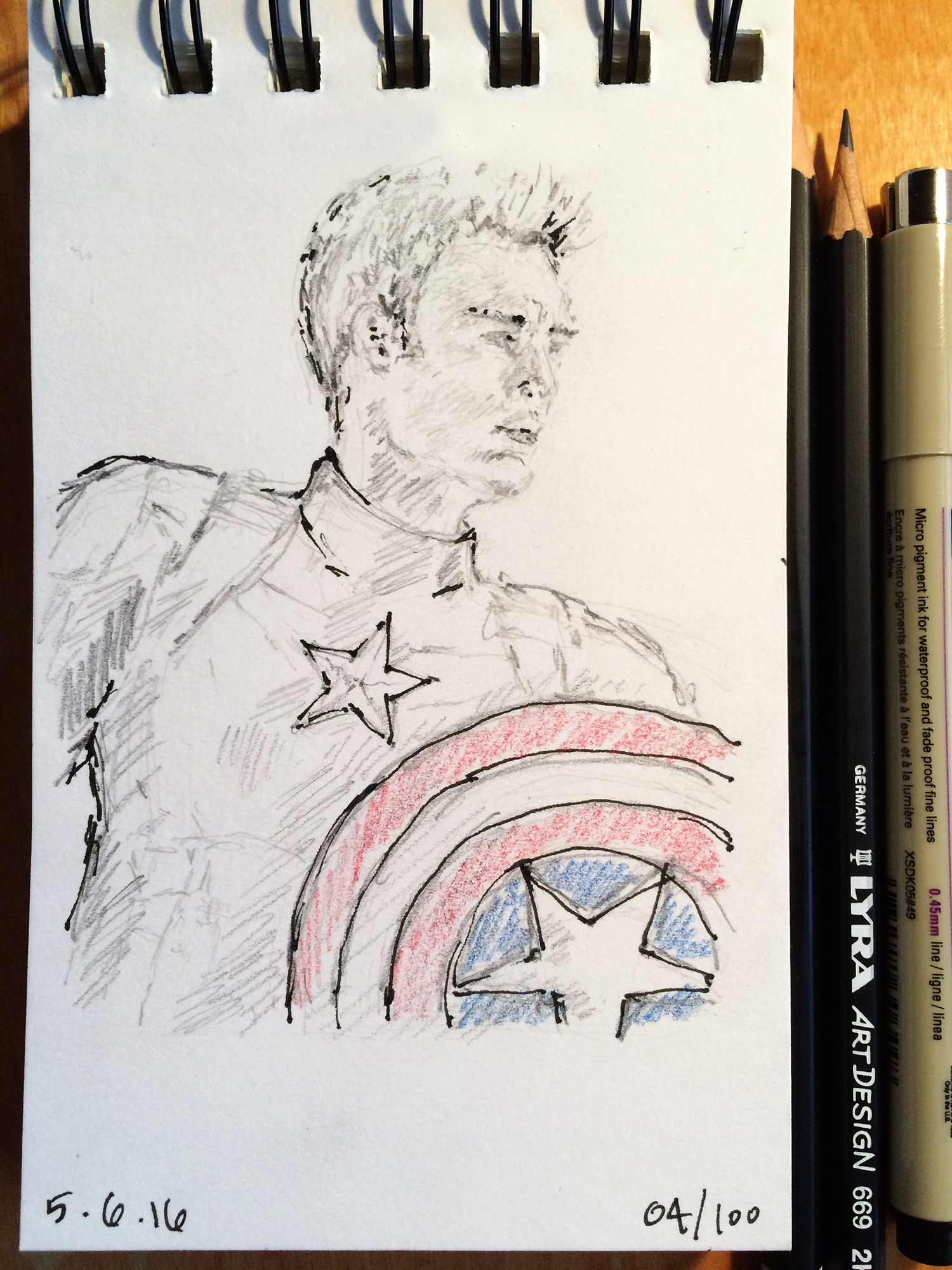 pencil and ink sketch, Chris Evans as Captain America, by Jennifer Koskinen