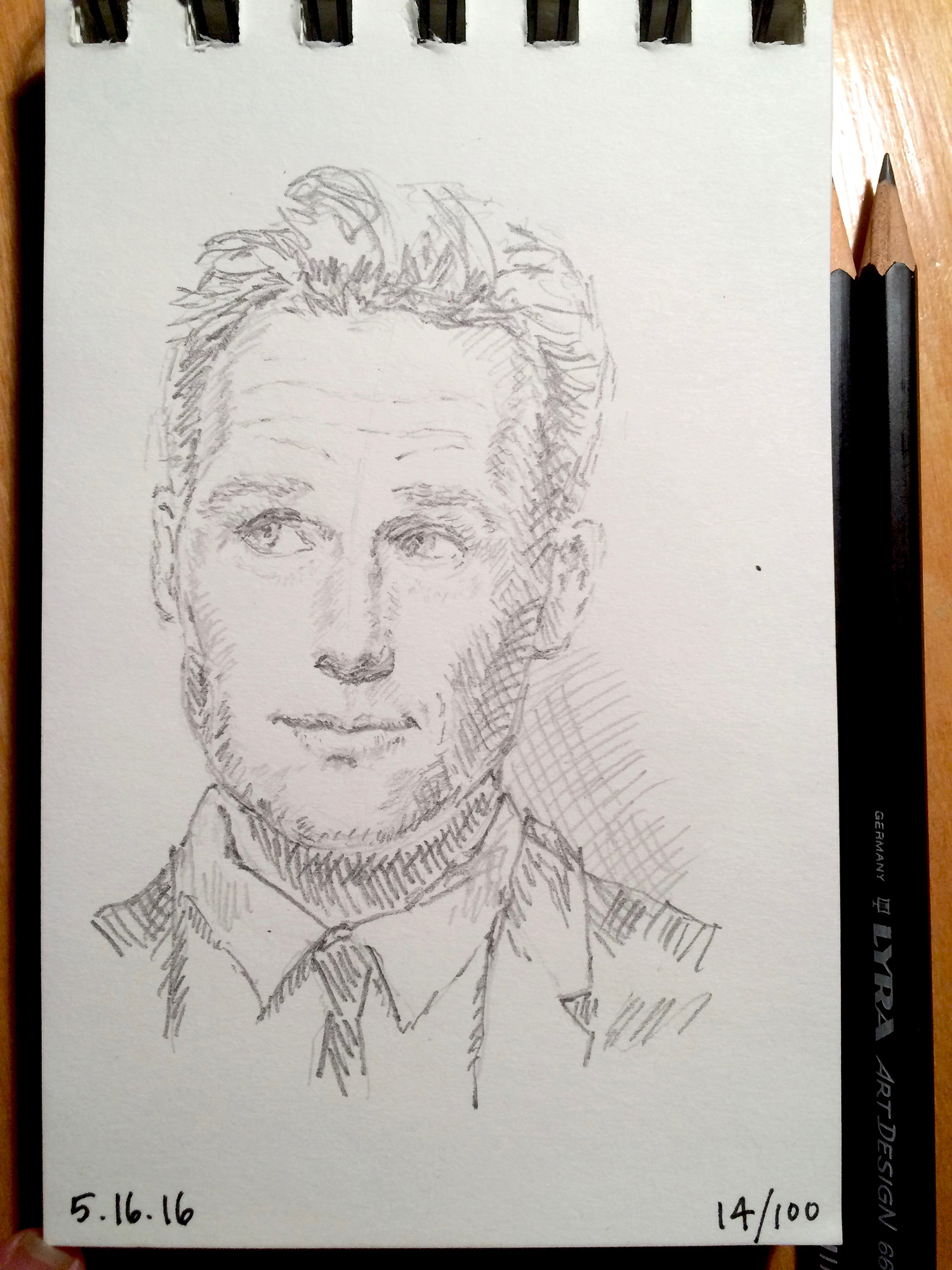 pencil sketch, portrait of - almost - Paul Rudd, by Jennifer Koskinen