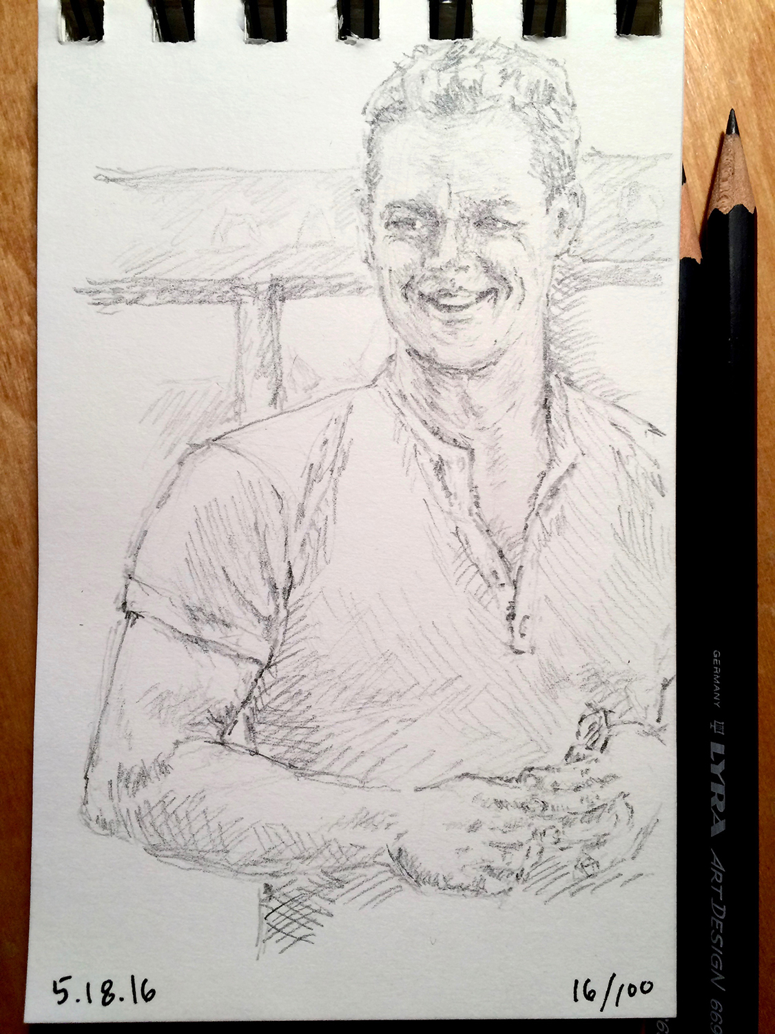 pencil portrait sketch, almost of Matt Damon, by Jennifer Koskinen