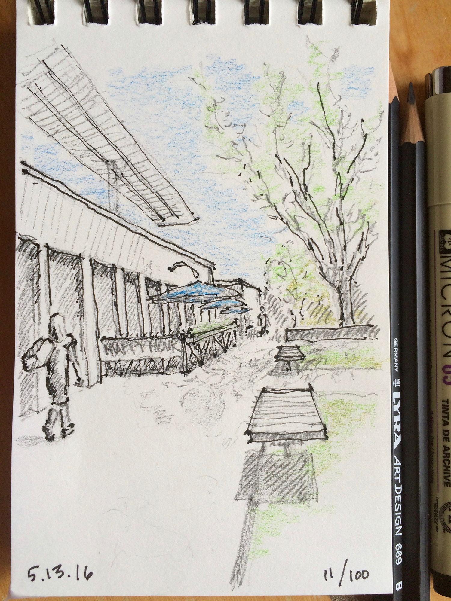 pencil and ink sketch, shopping in Cherry Creek North, by Jennifer Koskinen