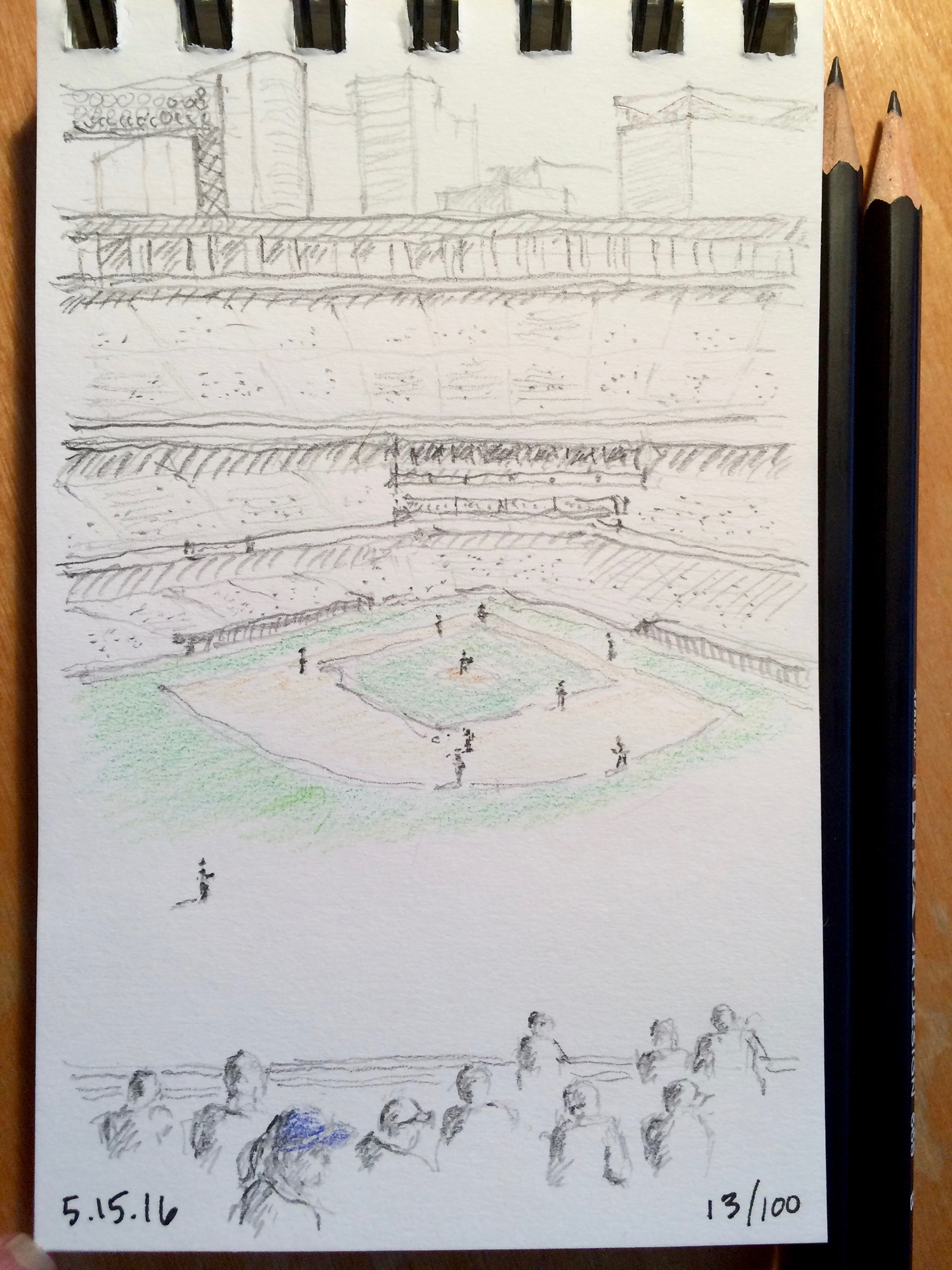 pencil and colored pencil sketch, Rockies playing at Coors Field in Denver, by Jennifer Koskinen