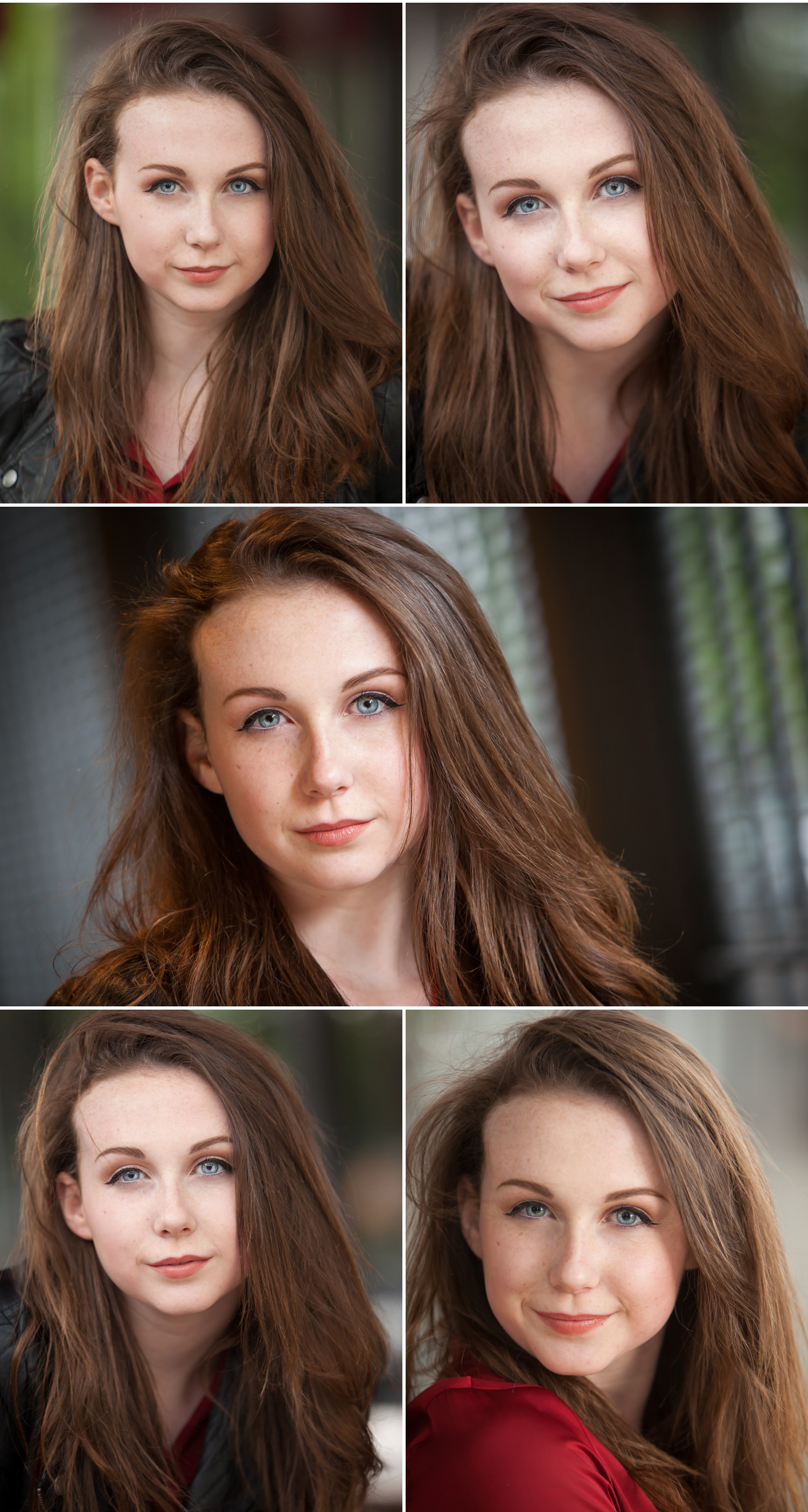 Wind blown natural light headshots of gorgeous brunette actor with blue eyes, by Denver photographer Jennifer Koskinen, Merritt Portrait Studio