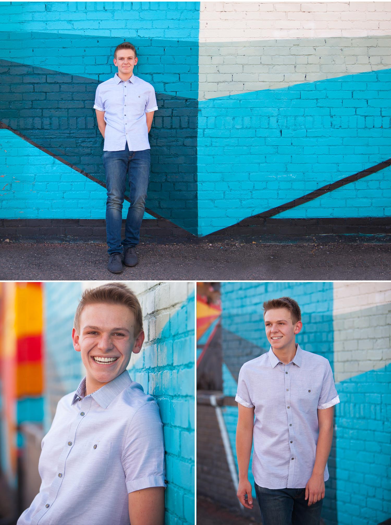 Urban Senior Guy Pictures with blue graffiti with Denver photographer Jennifer Koskinen | Merritt Portrait Studio