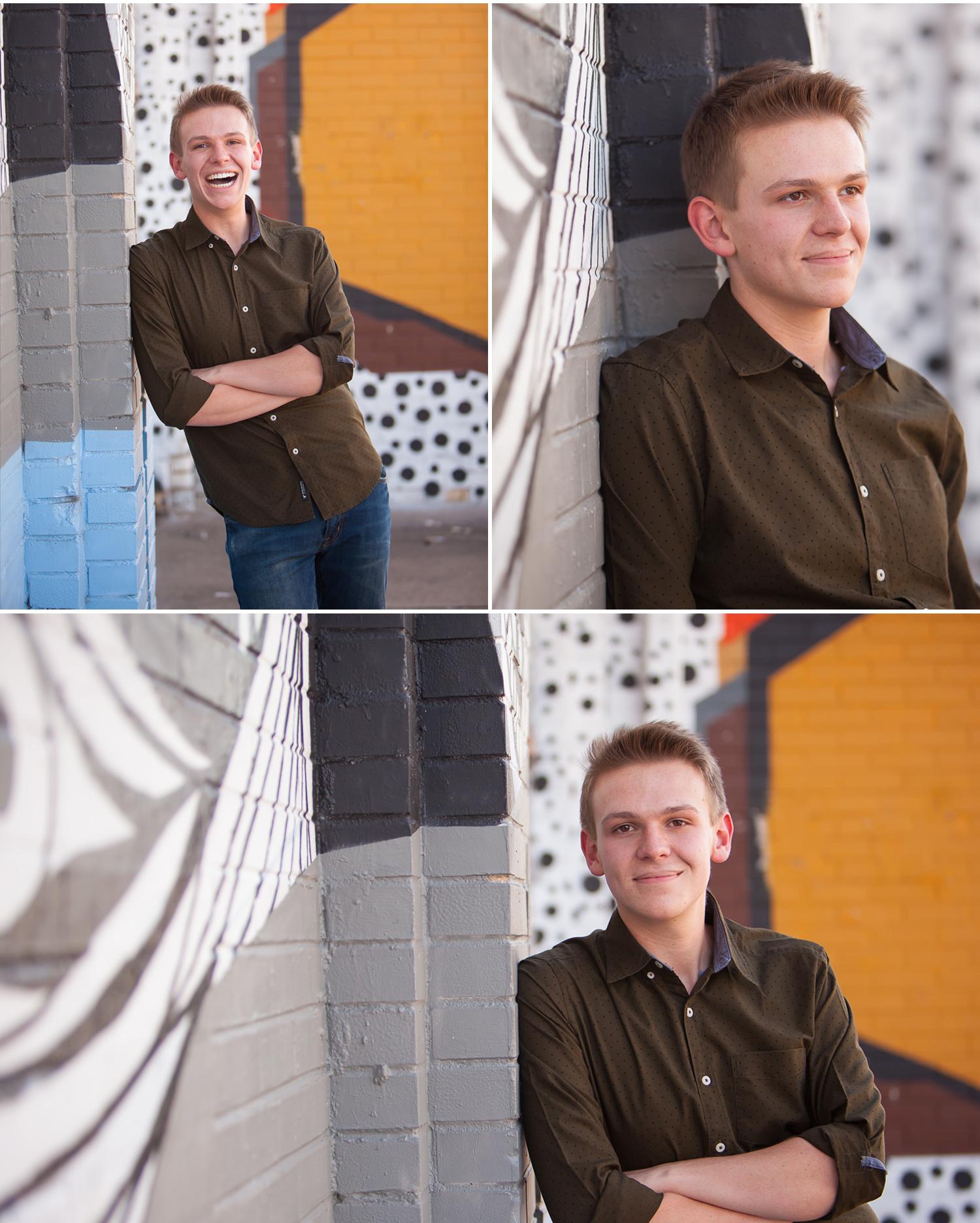 Urban Senior Guy Portraits with graffiti with Denver Photographer Jennifer Koskinen, Merritt Portrait Studio