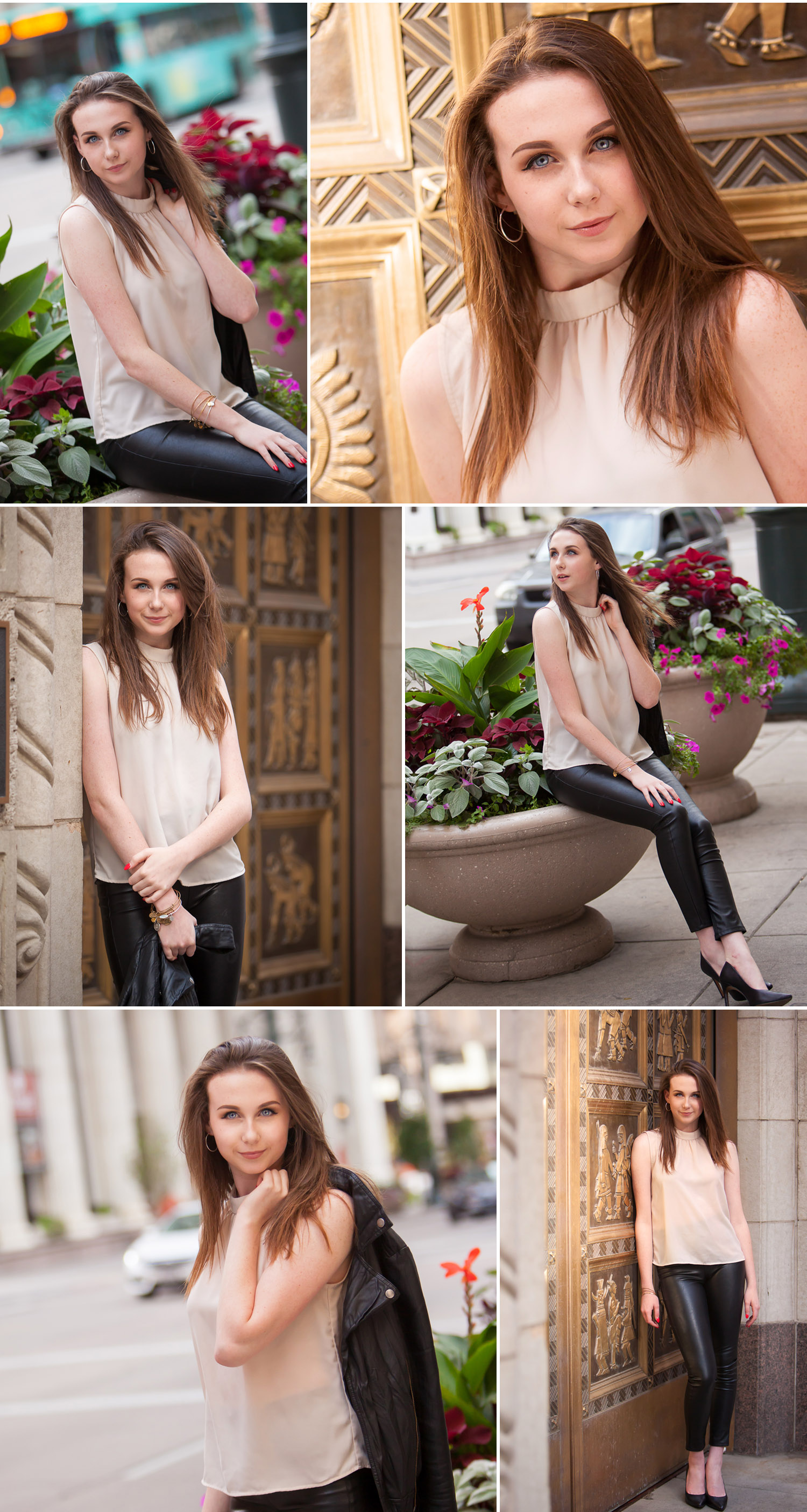Fashion Inspired urban High School Senior pictures in leather pants in downtown Denver with photographer Jennifer Koskinen of Merritt Portrait Studio