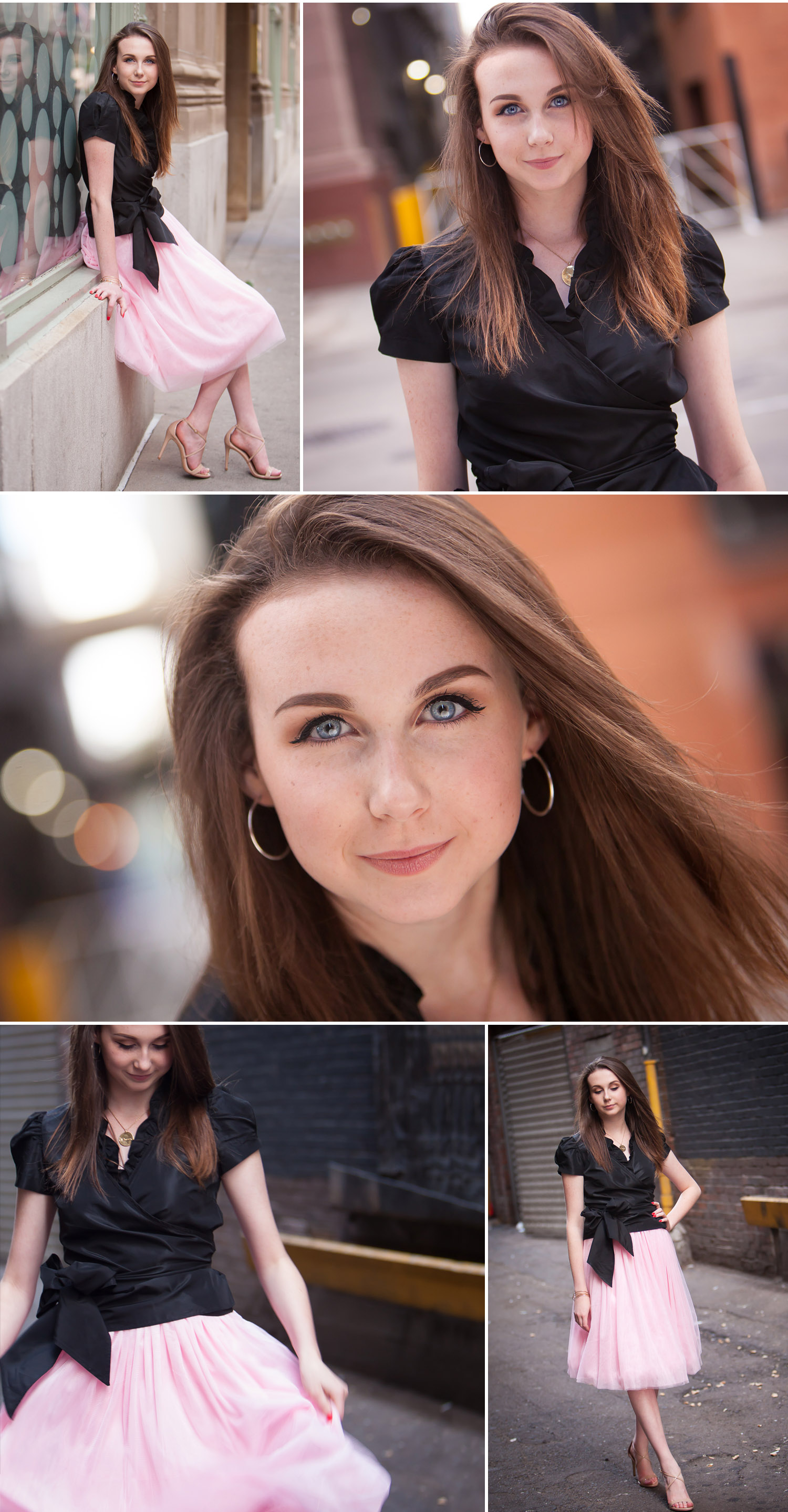 SATC Inspired urban High School Senior pictures in pink tulle skirt in an alley in downtown Denver with photographer Jennifer Koskinen of Merritt Portrait Studio
