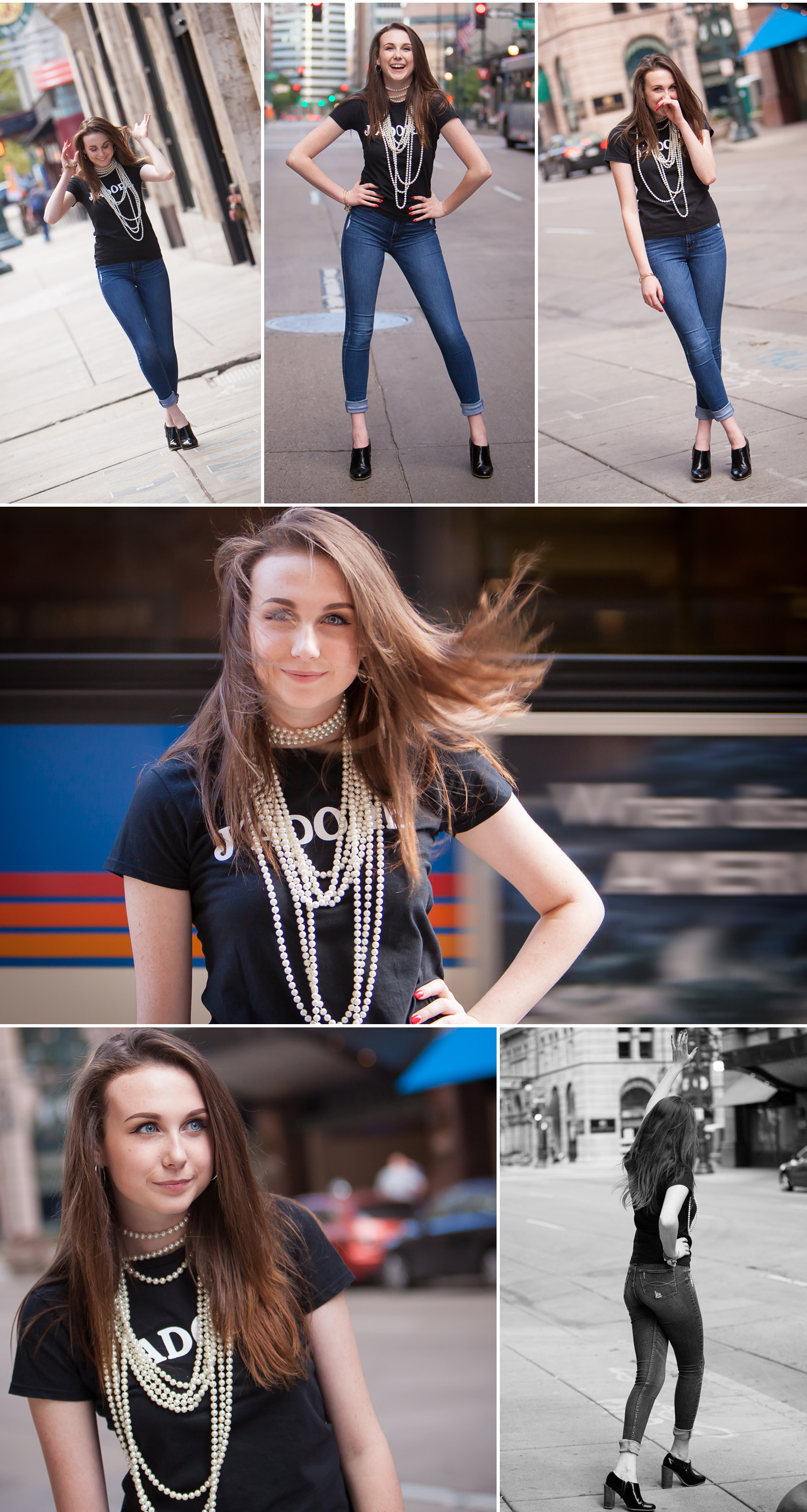 Vibrant, motion filled urban High School Senior pictures in the streets of downtown Denver with photographer Jennifer Koskinen of Merritt Portrait Studio