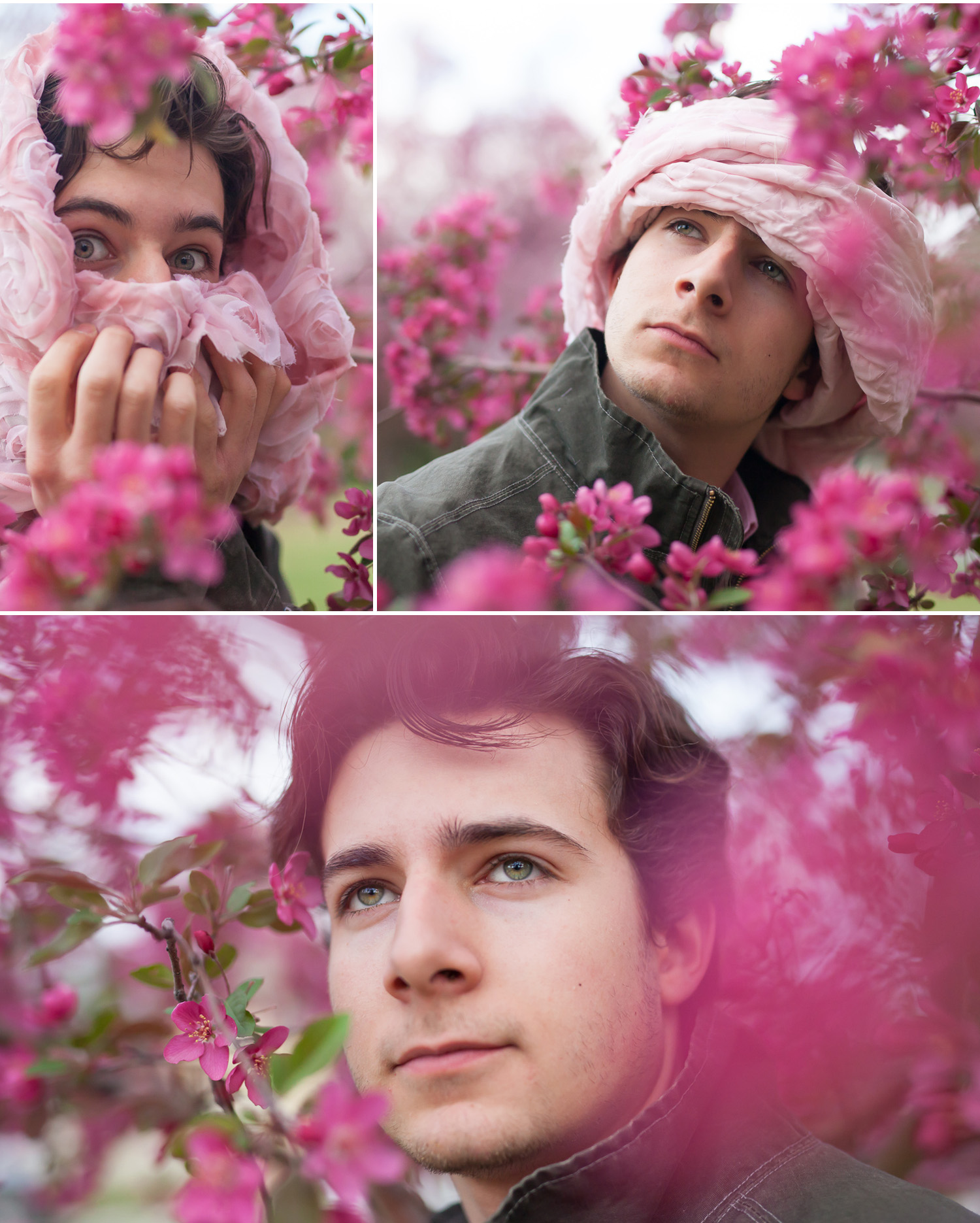 Young man playing for creative portraits in pink spring flowers, by Denver photographer Jennifer Koskinen, Merritt Portrait Studio