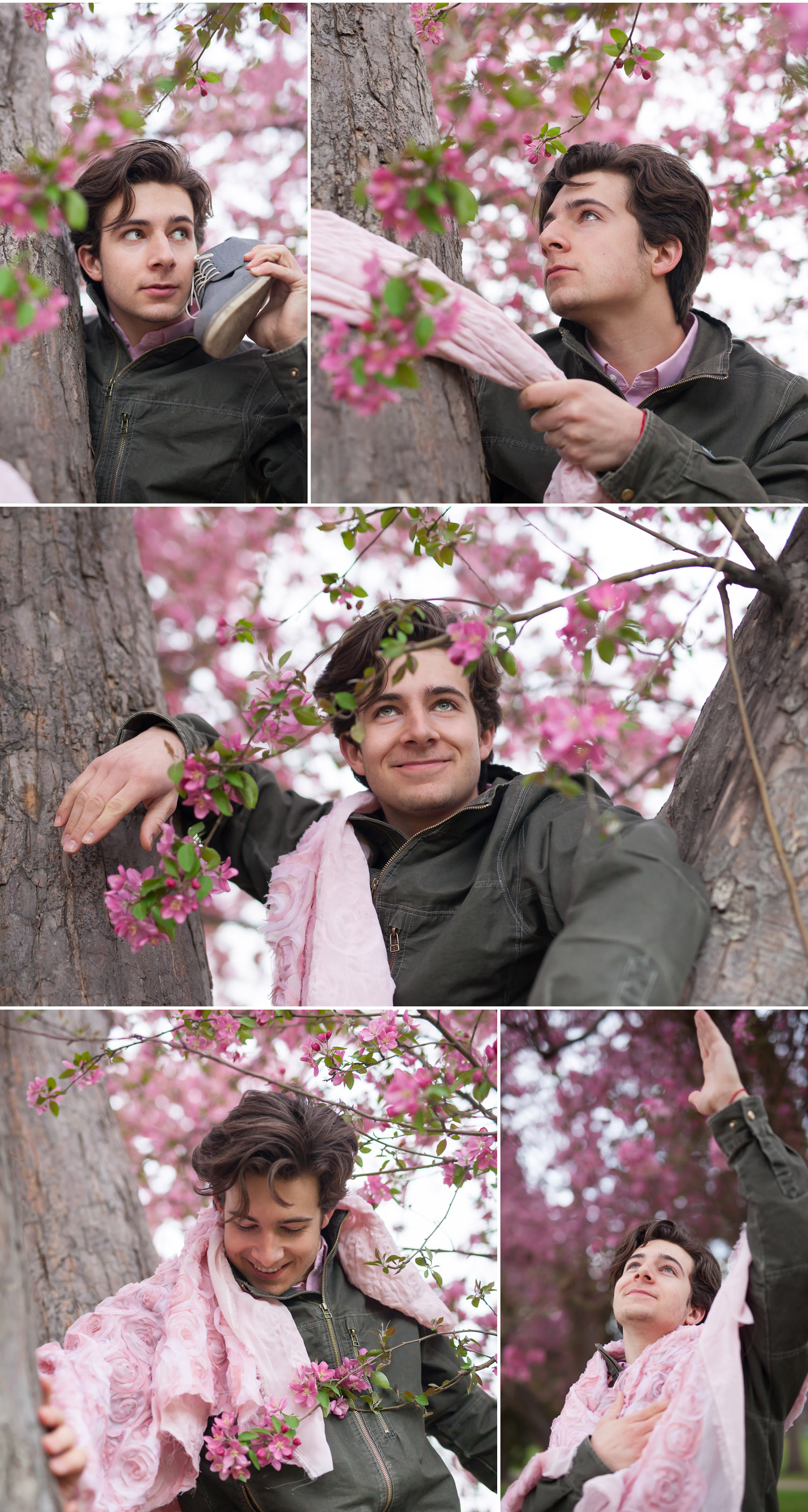 Teen boy being silly while taking pictures in pink spring flowers, by Denver photographer Jennifer Koskinen, Merritt Portrait Studio