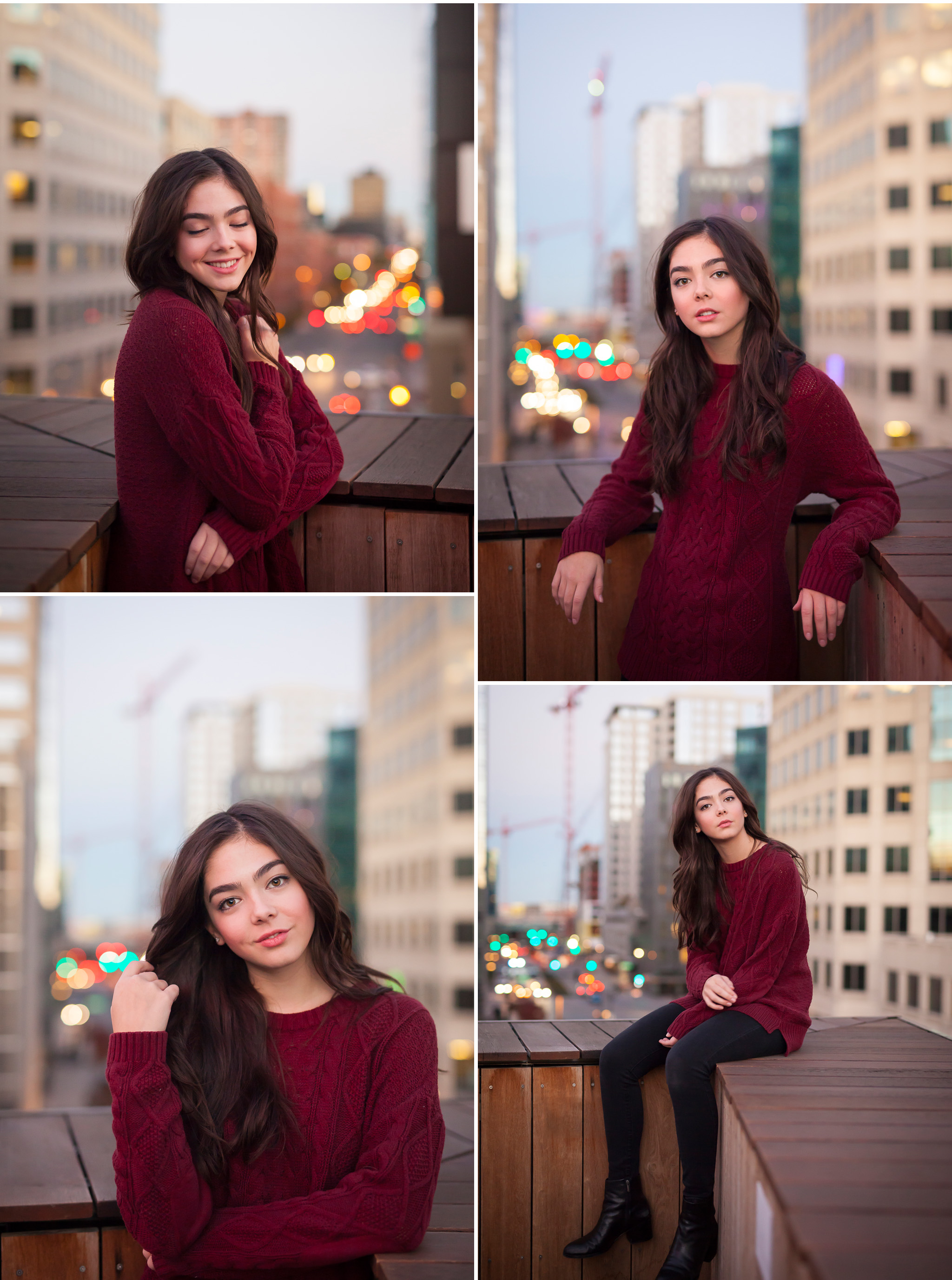 Urban rooftop high school senior pictures with photographer Jennifer Koskinen