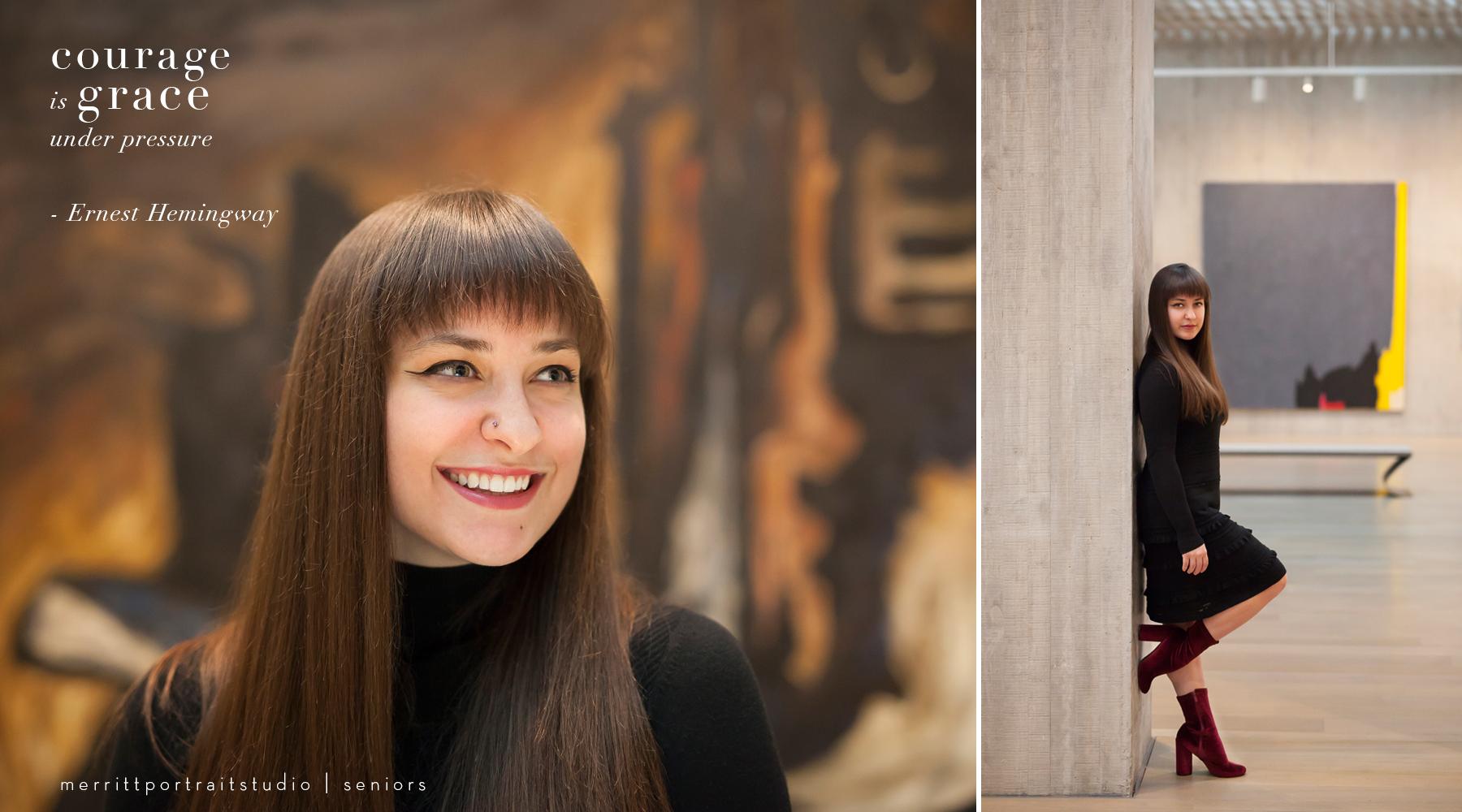 Artistic Denver Senior Pictures in museum with photographer Jennifer Koskinen, Merritt Portrait Studio