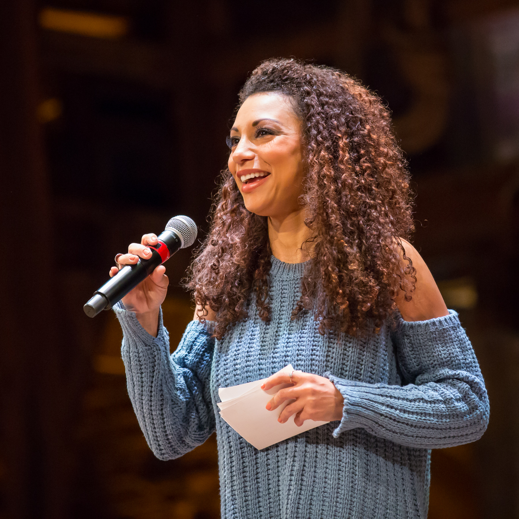 Cast Member Sabrina Sloan (Angelica Schuyler) from the Angelica Tour of Hamilton during Q&A for the Hamilton Education Program, photographer Jennifer Koskinen