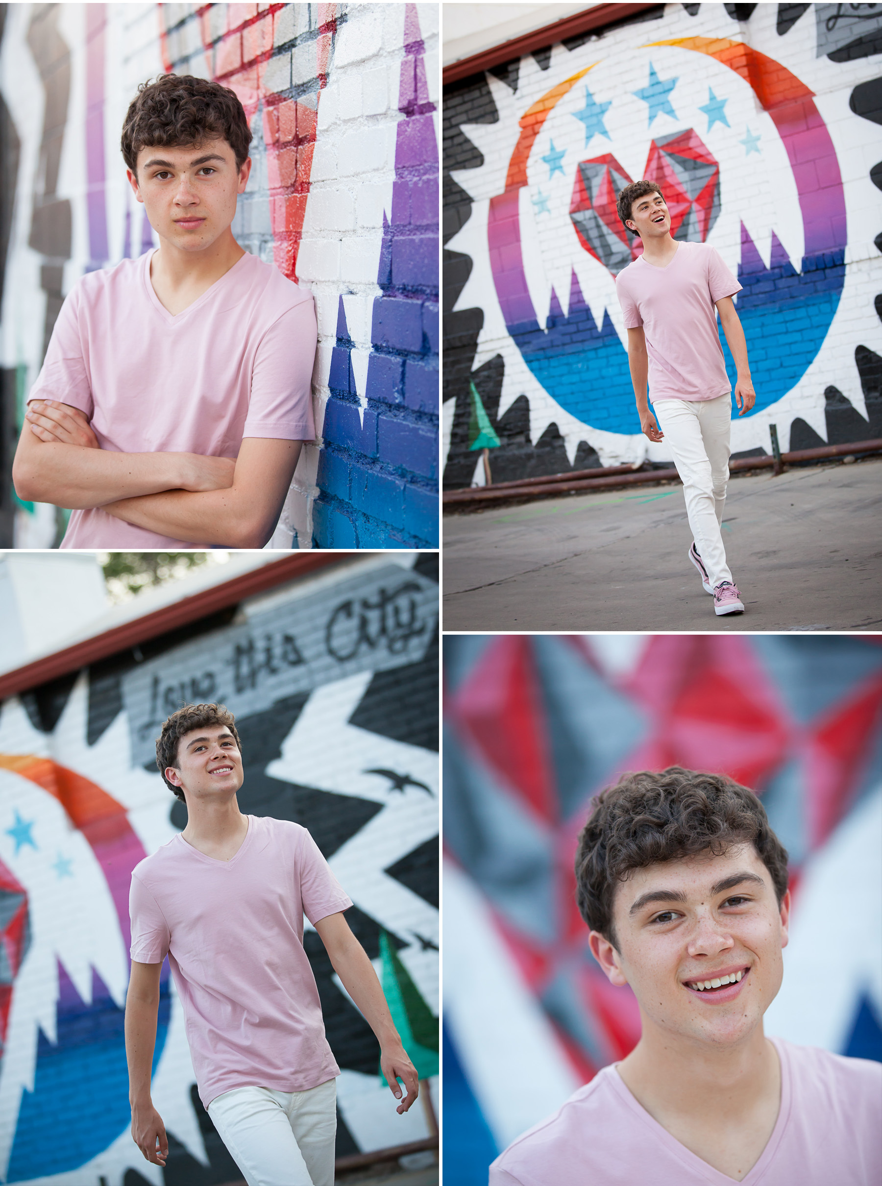 High School Senior Guy Pictures with urban street art graffiti with Denver photographer Jennifer Koskinen, Merritt Portrait Studio