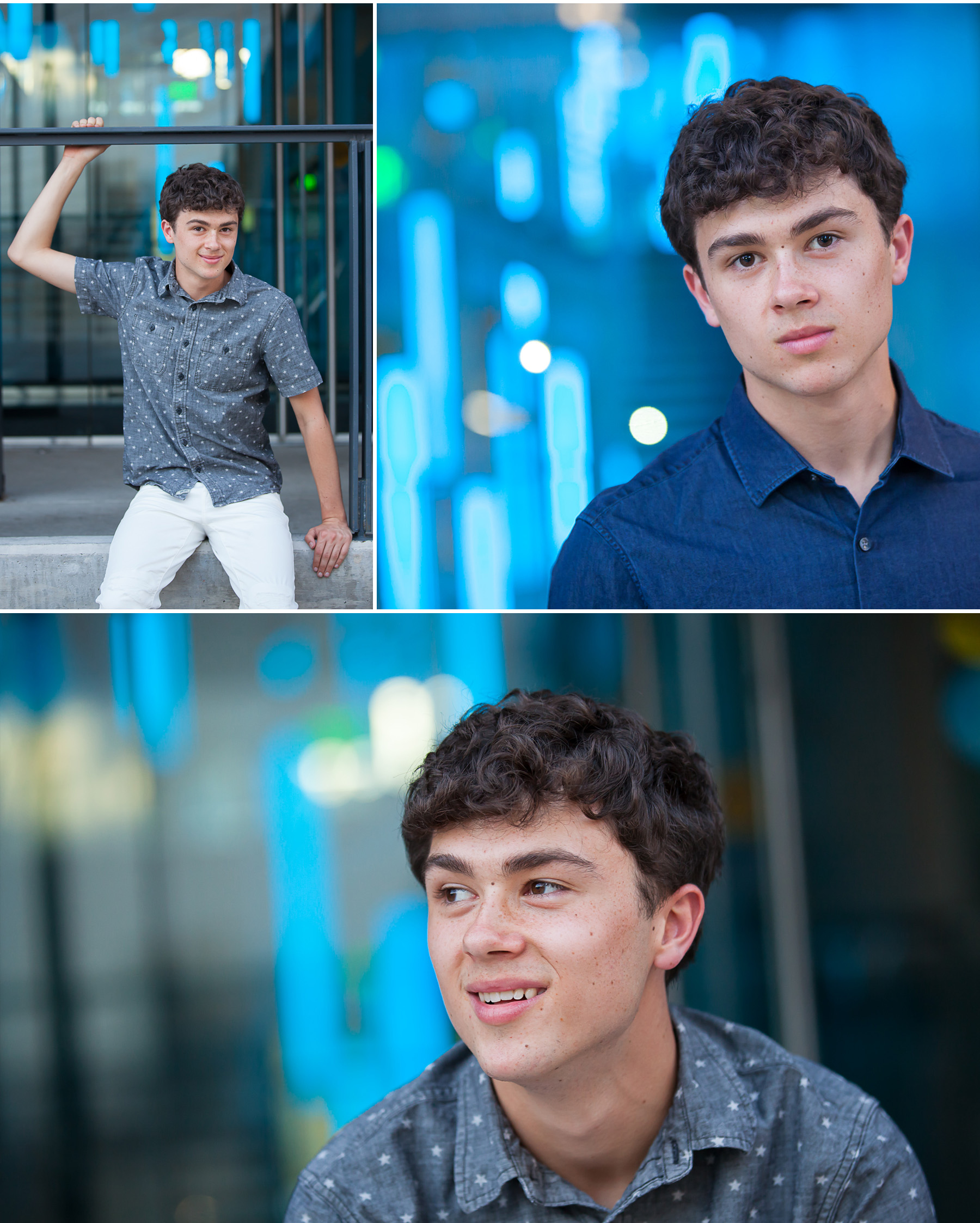 Urban Guy Senior Pictures with blue lights with Denver photographer Jennifer Koskinen, Merritt Portrait Studio