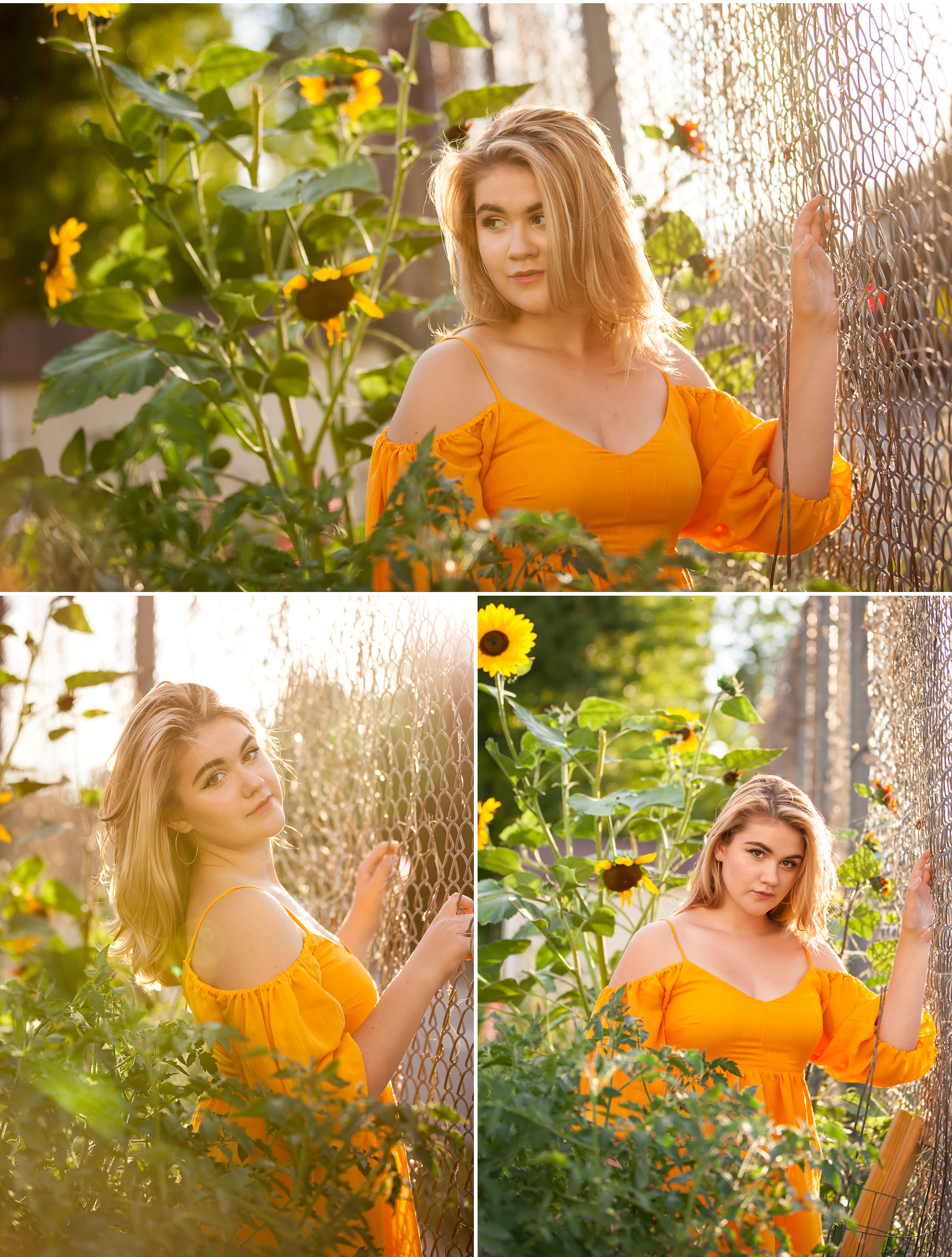 Sunlight and sunflower filled Senior Portraits in summer garden with Denver photographer Jennifer Koskinen, Merritt Portrait Studio