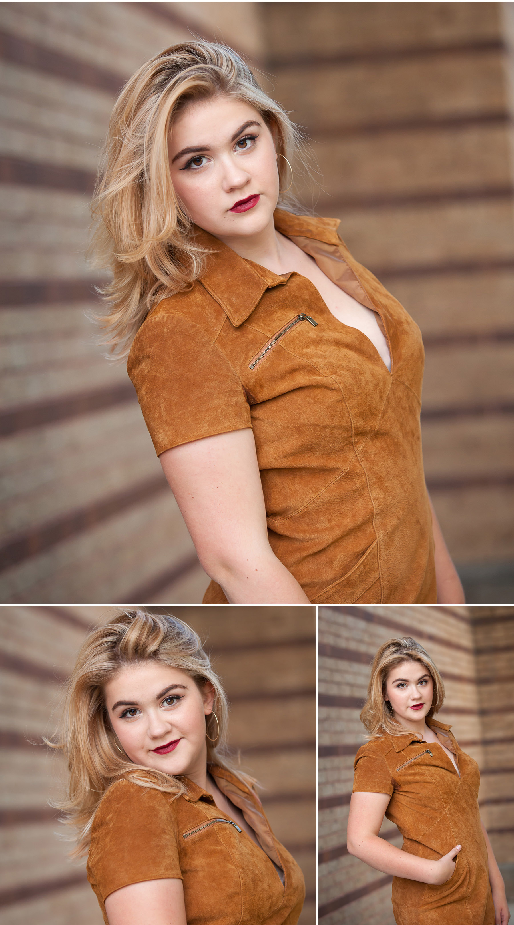 Senior Portraits in brown suede dress against cool brick wall with Denver photographer Jennifer Koskinen, Merritt Portrait Studio
