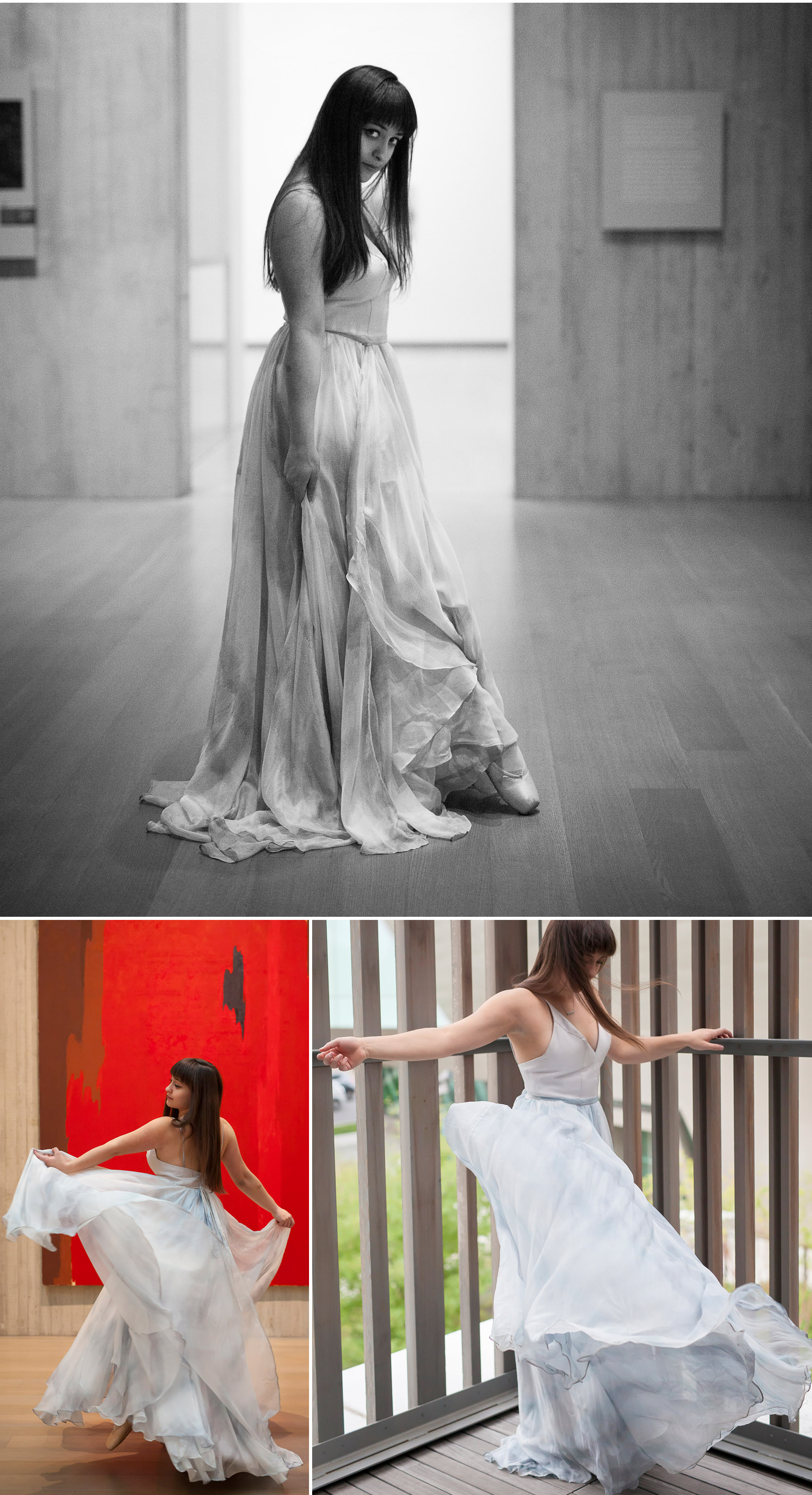 Senior Pictures dancing in dress in Clyfford Still Museum in Denver with photographer Jennifer Koskinen, Merritt Portrait Studio