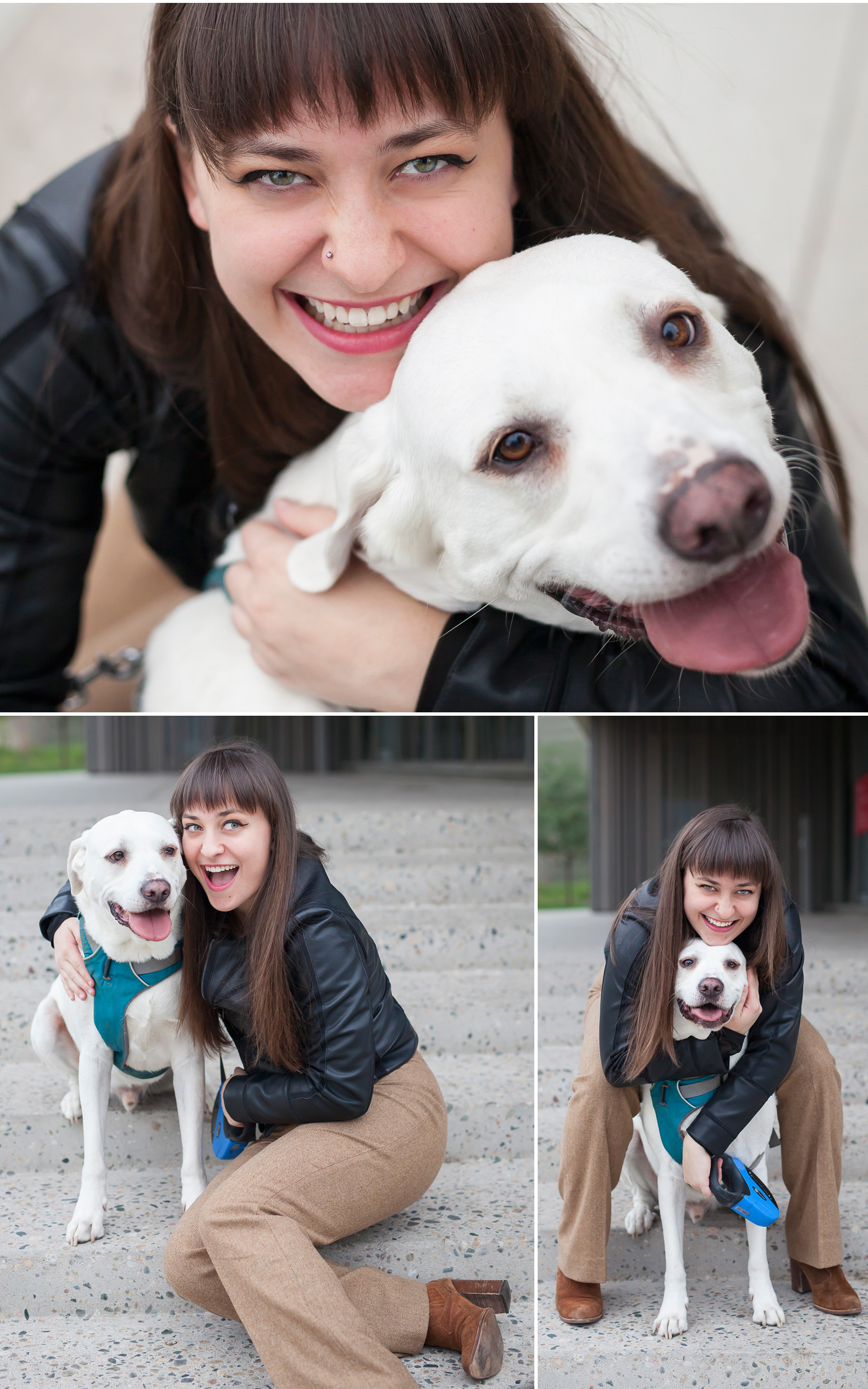 Happy High School Senior Pictures of Young Woman and Her Dog in Denver with photographer Jennifer Koskinen, Merritt Portrait Studio