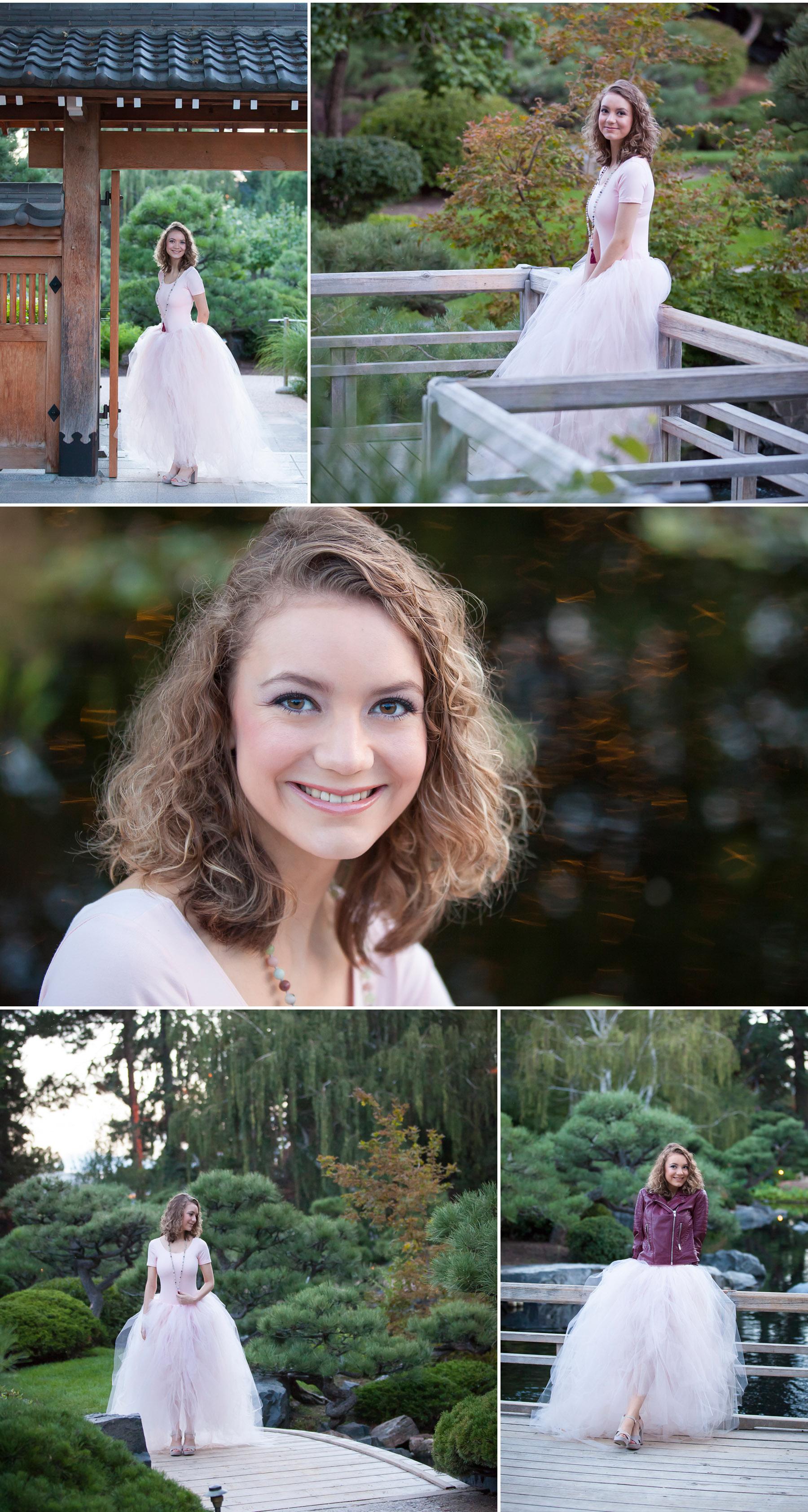 High School Senior Pictures in Japanese Garden at Denver Botanic Gardens, photographer Jennifer Koskinen, Merritt Portrait Studio