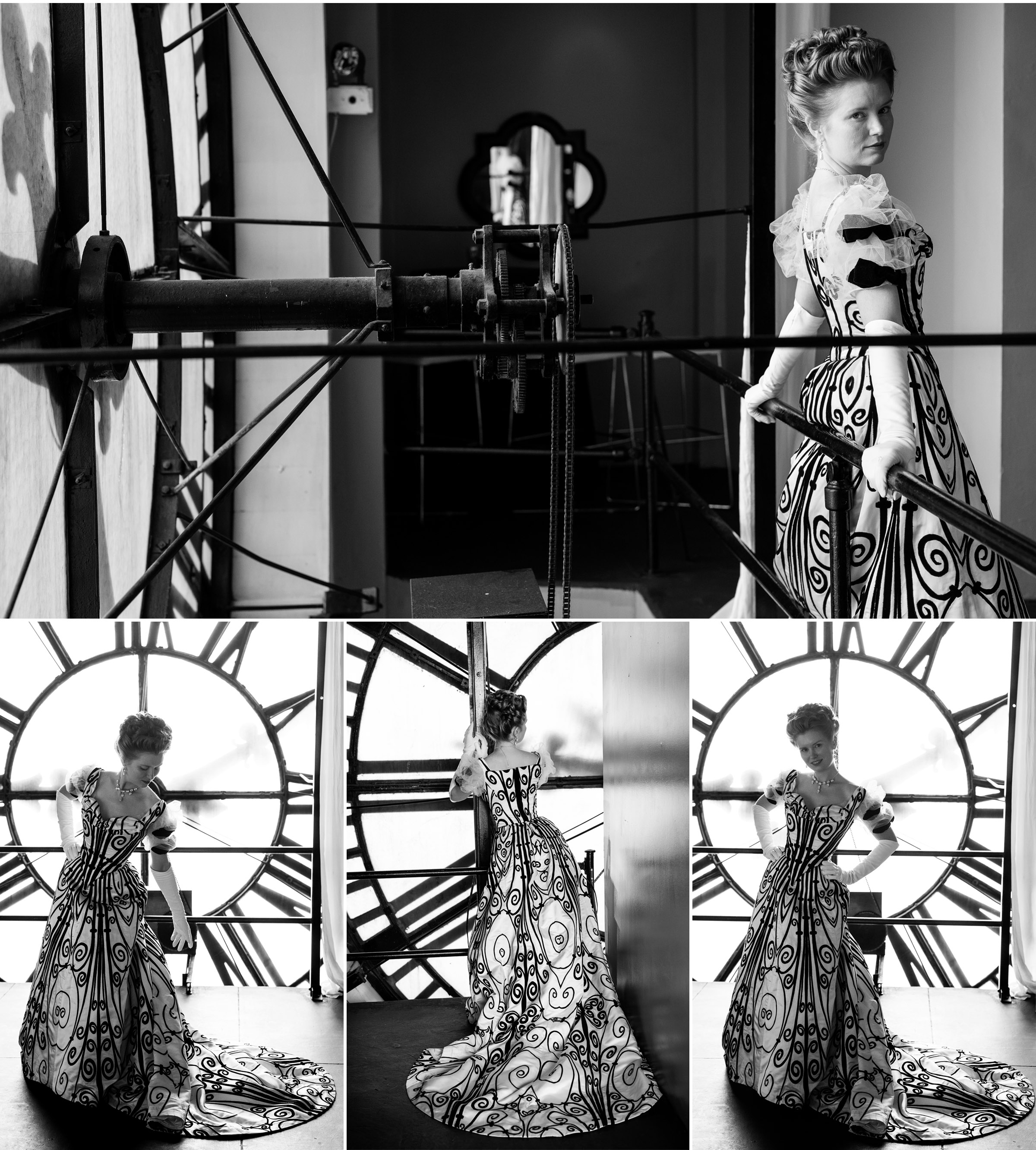 Redthreaded Worth Gown photographed in Denver Clocktower by photographer Jennifer Koskinen, Merritt Portrait Studio