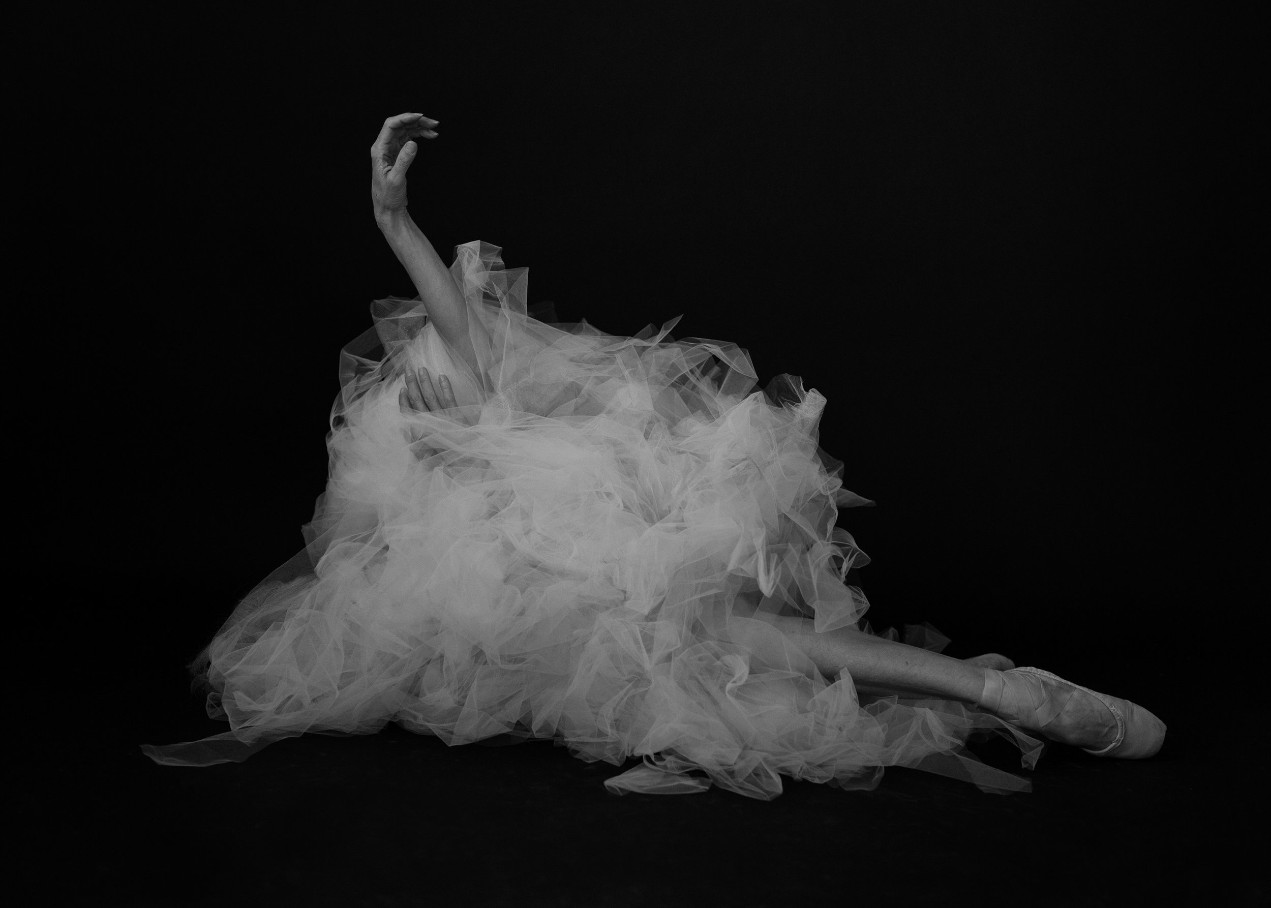Valerie Madonia dances with tulle for fine art photo shoot with photographer Jennifer Koskinen, Merritt Portrait Studio