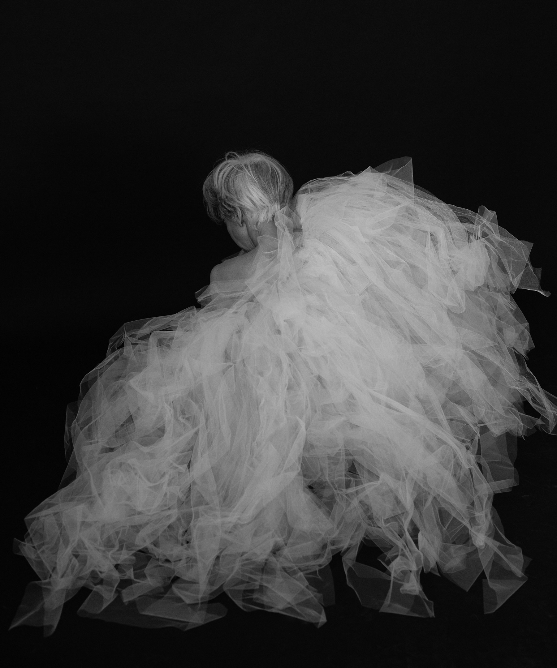 Valerie Madonia in a nest of tulle for fine art dancer photo session with photographer Jennifer Koskinen, Merritt Portrait Studio