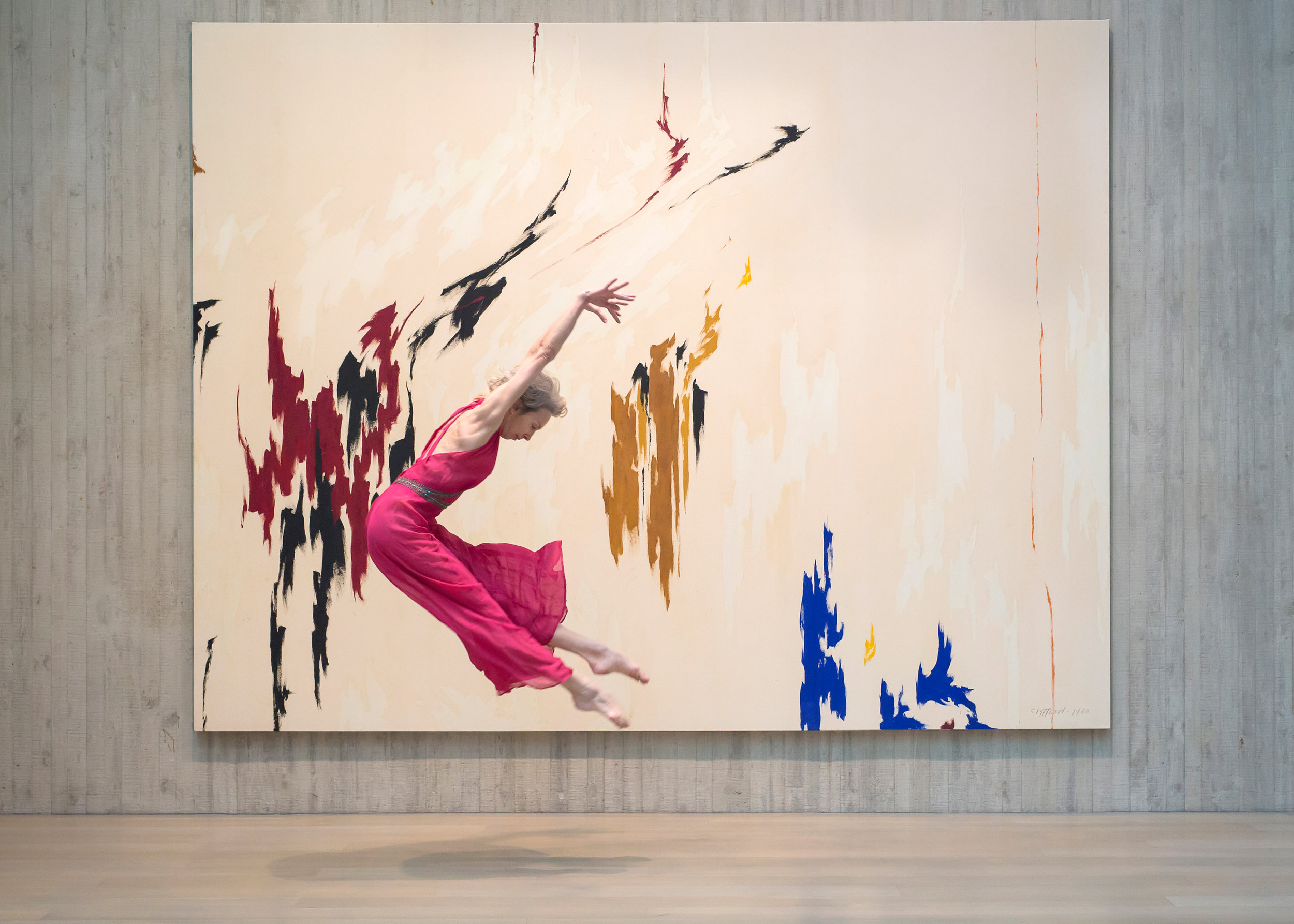 "Valerie Madonia leaps ""into"" a painting in dance photo session at Clyfford Still Museum with Denver photographer Jennifer Koskinen"