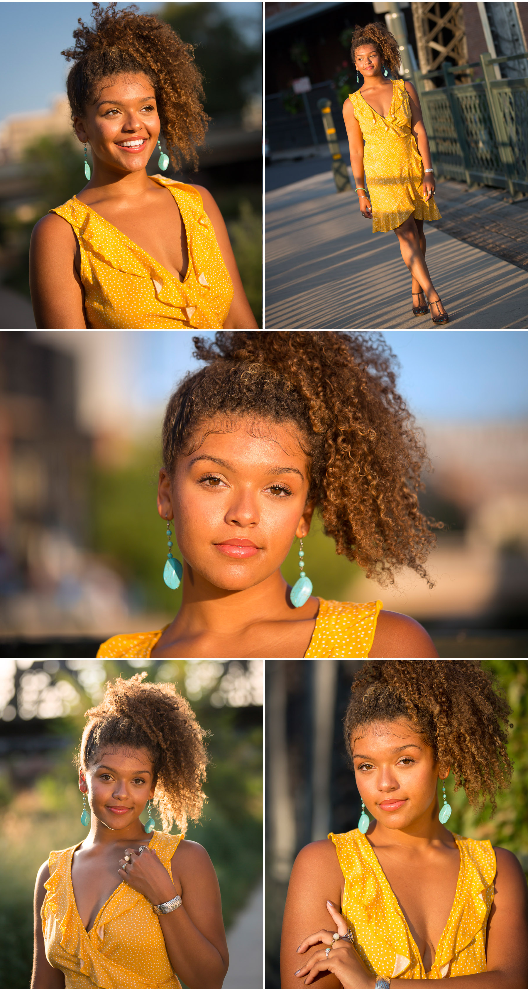Radiant young black woman beams like the sunshine during afternoon senior portrait session with Denver photographer, Jennifer Koskinen, Merritt Portrait Studio
