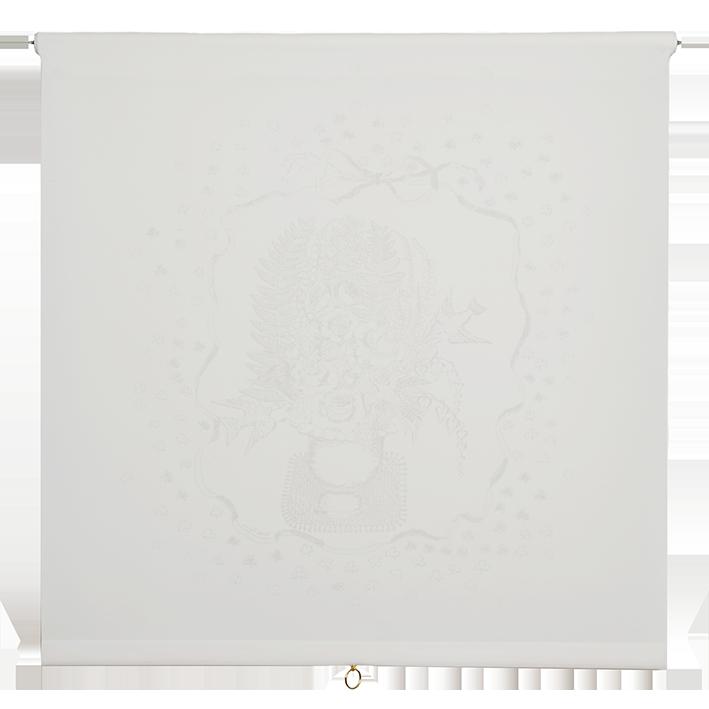 Bukettyget vit med ljusgrått mönster