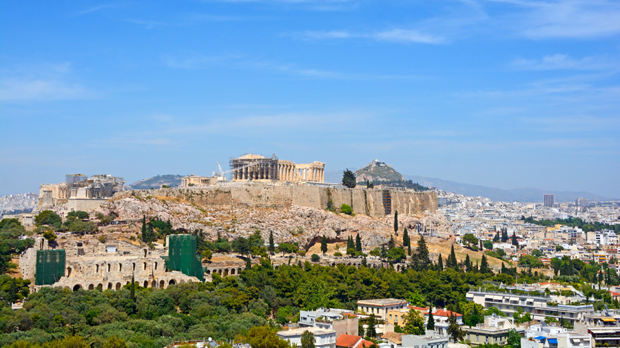 South west view of the Acropolis in Athens, under renovation.