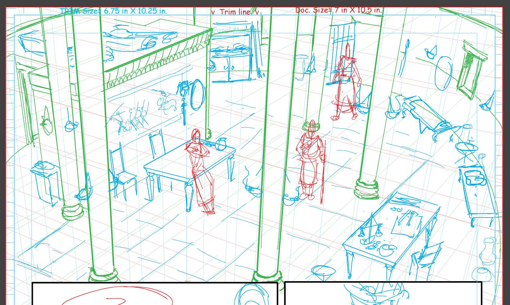 A great opportunity to set the location for the reader for the pages to come. Here, a helmet and shield need to be placed for a character to easily access 3 pages later.
