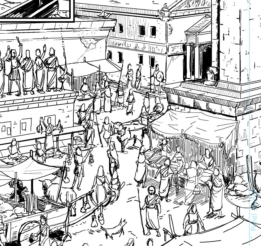 close up shot from a scene at the Athenian Agora (market place). The shapes are your details.